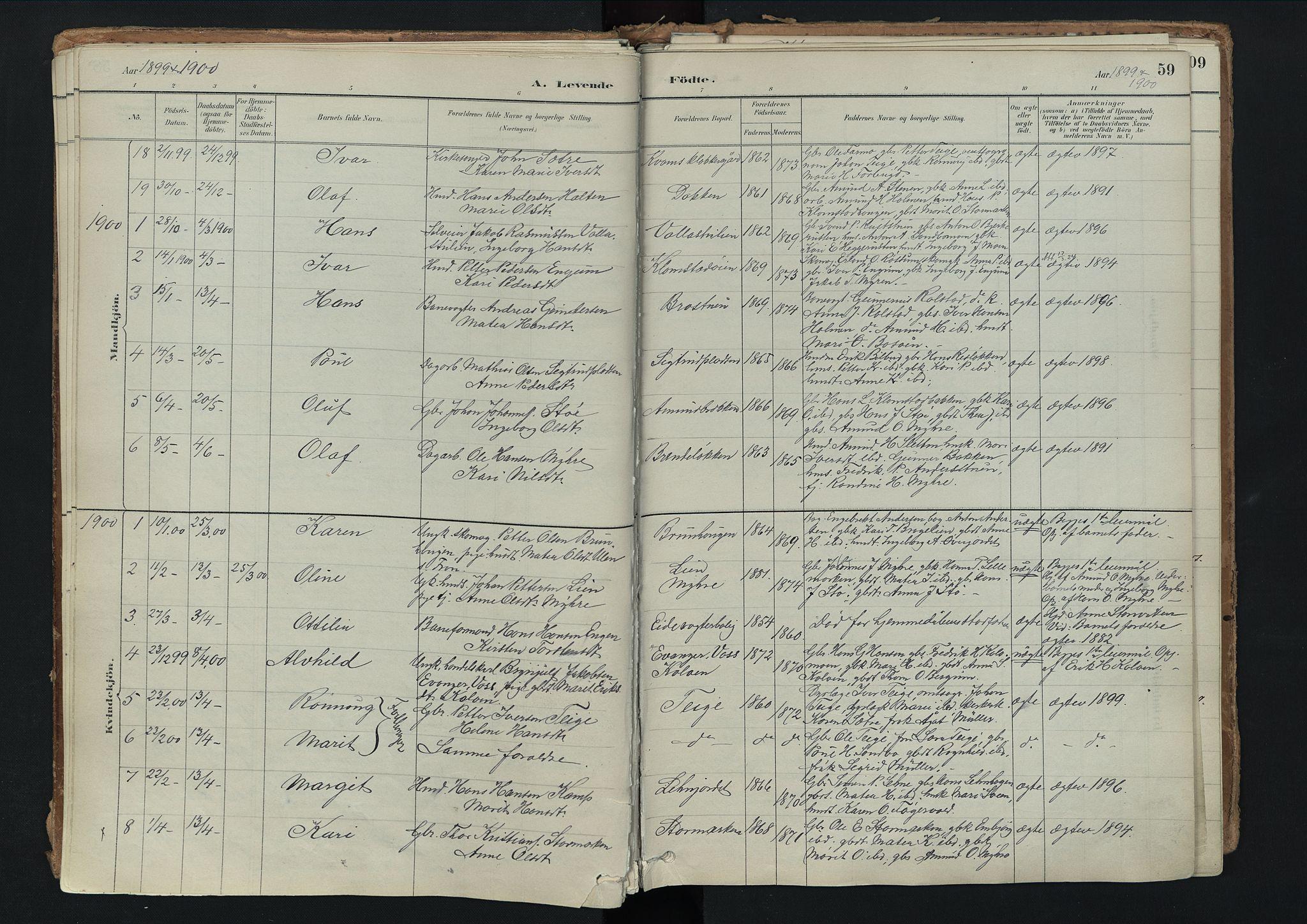 SAH, Nord-Fron prestekontor, Ministerialbok nr. 3, 1884-1914, s. 59