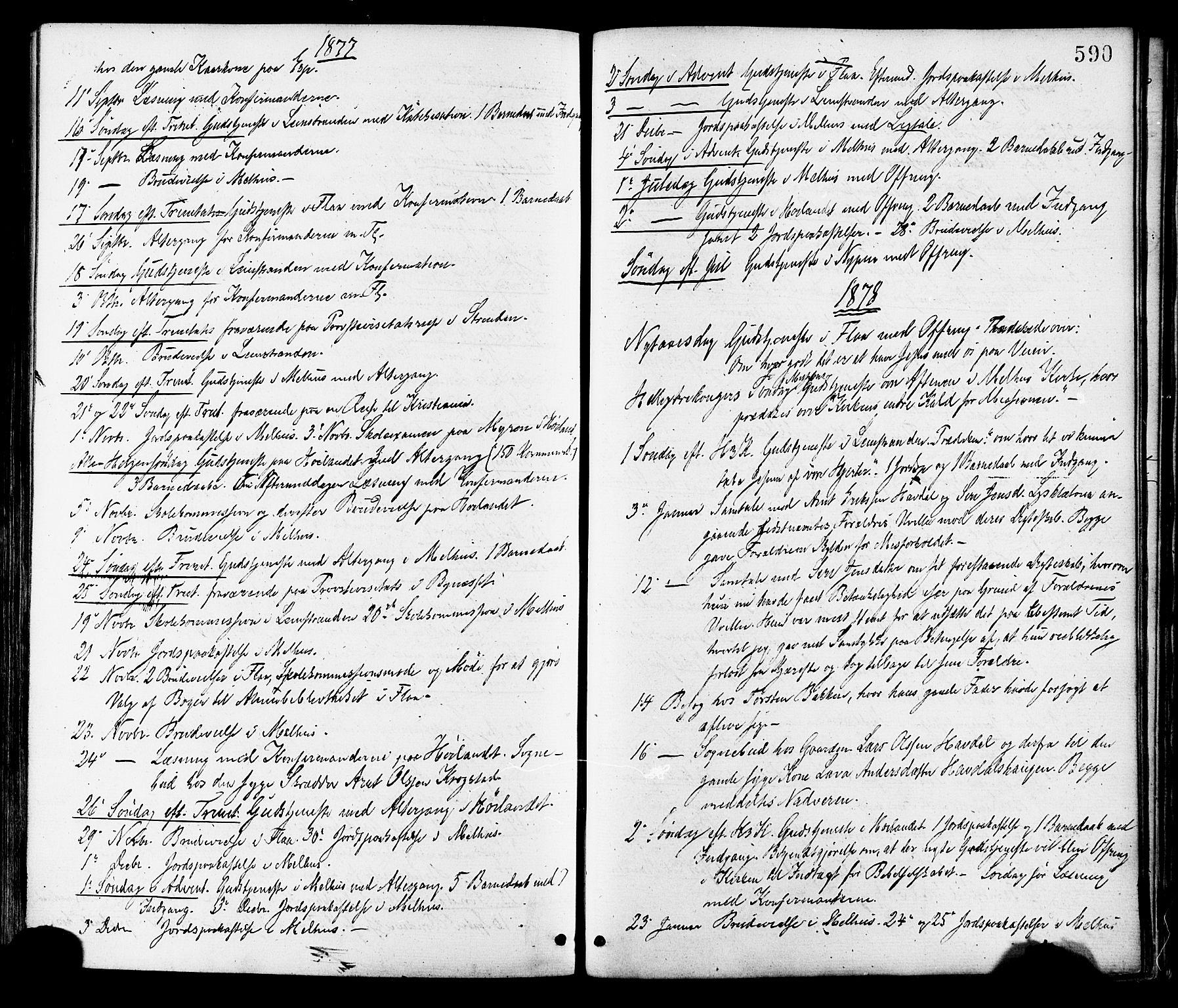 SAT, Ministerialprotokoller, klokkerbøker og fødselsregistre - Sør-Trøndelag, 691/L1079: Ministerialbok nr. 691A11, 1873-1886, s. 590