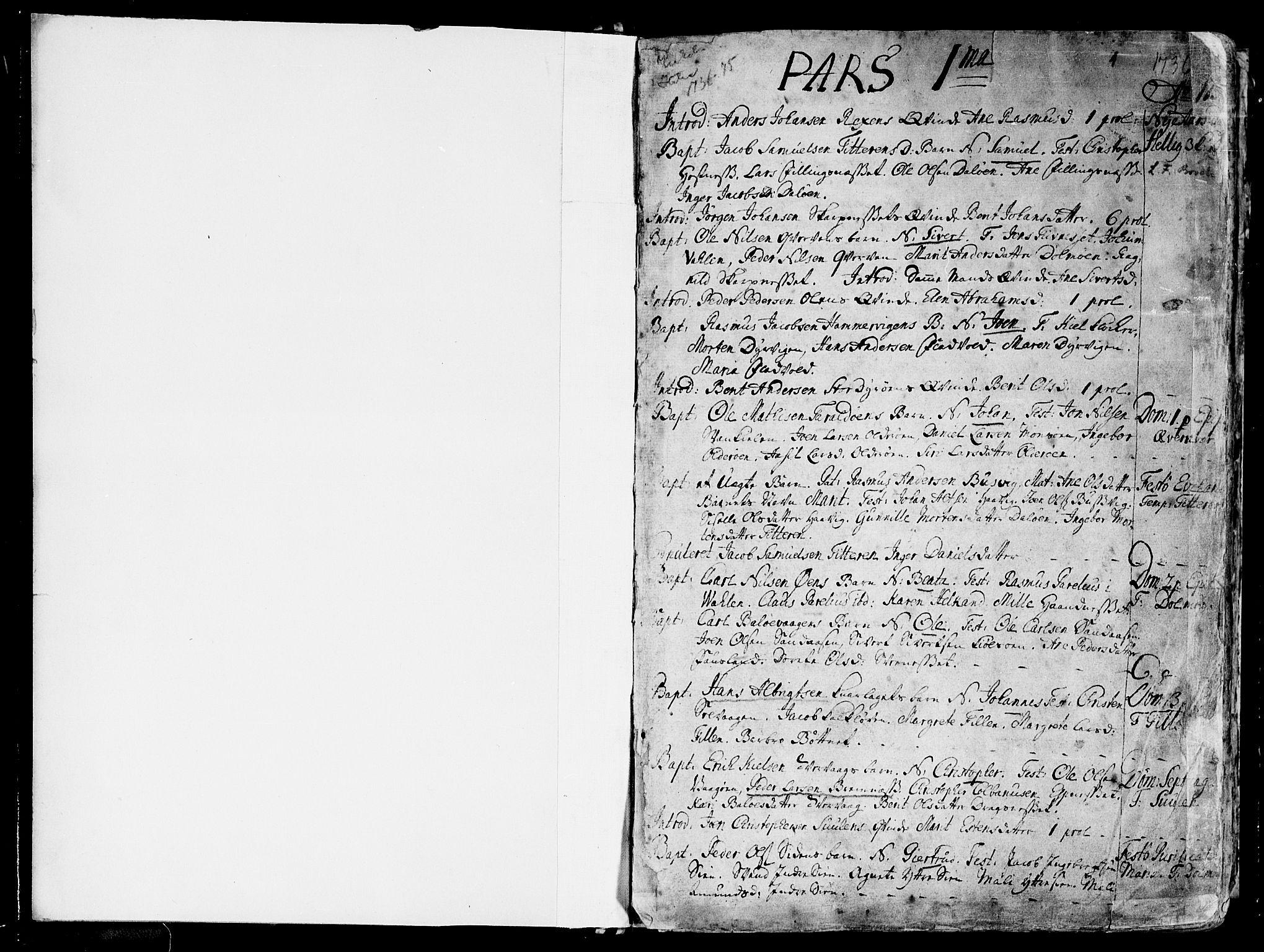 SAT, Ministerialprotokoller, klokkerbøker og fødselsregistre - Sør-Trøndelag, 634/L0525: Ministerialbok nr. 634A01, 1736-1775, s. 1