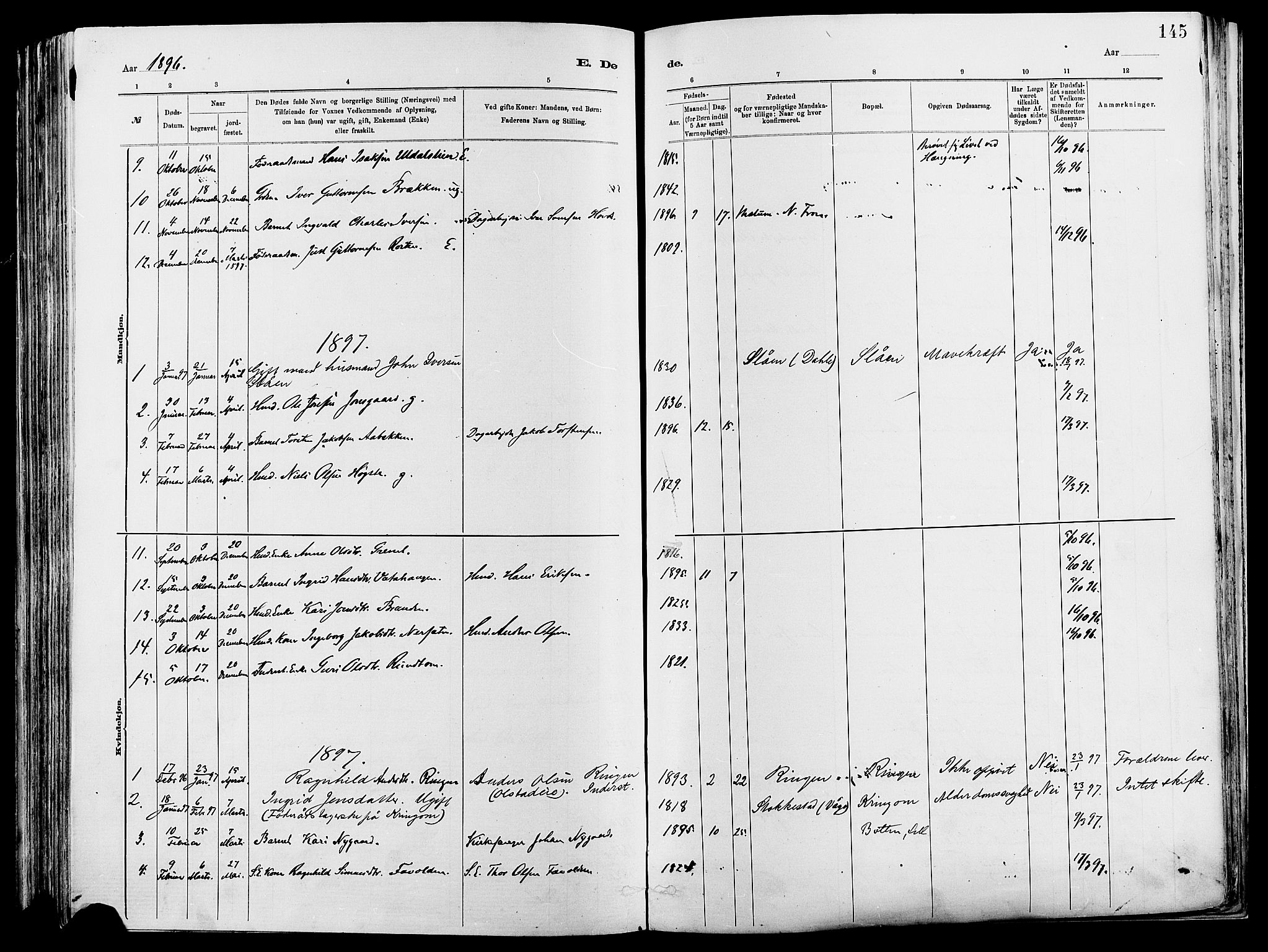 SAH, Vågå prestekontor, Ministerialbok nr. 8, 1886-1904, s. 145