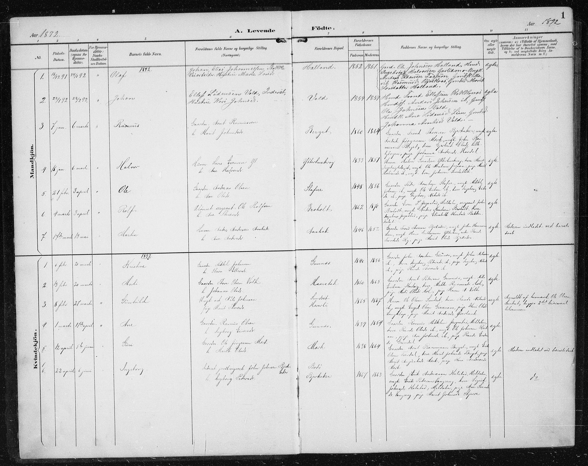 SAT, Ministerialprotokoller, klokkerbøker og fødselsregistre - Sør-Trøndelag, 674/L0876: Klokkerbok nr. 674C03, 1892-1912, s. 1