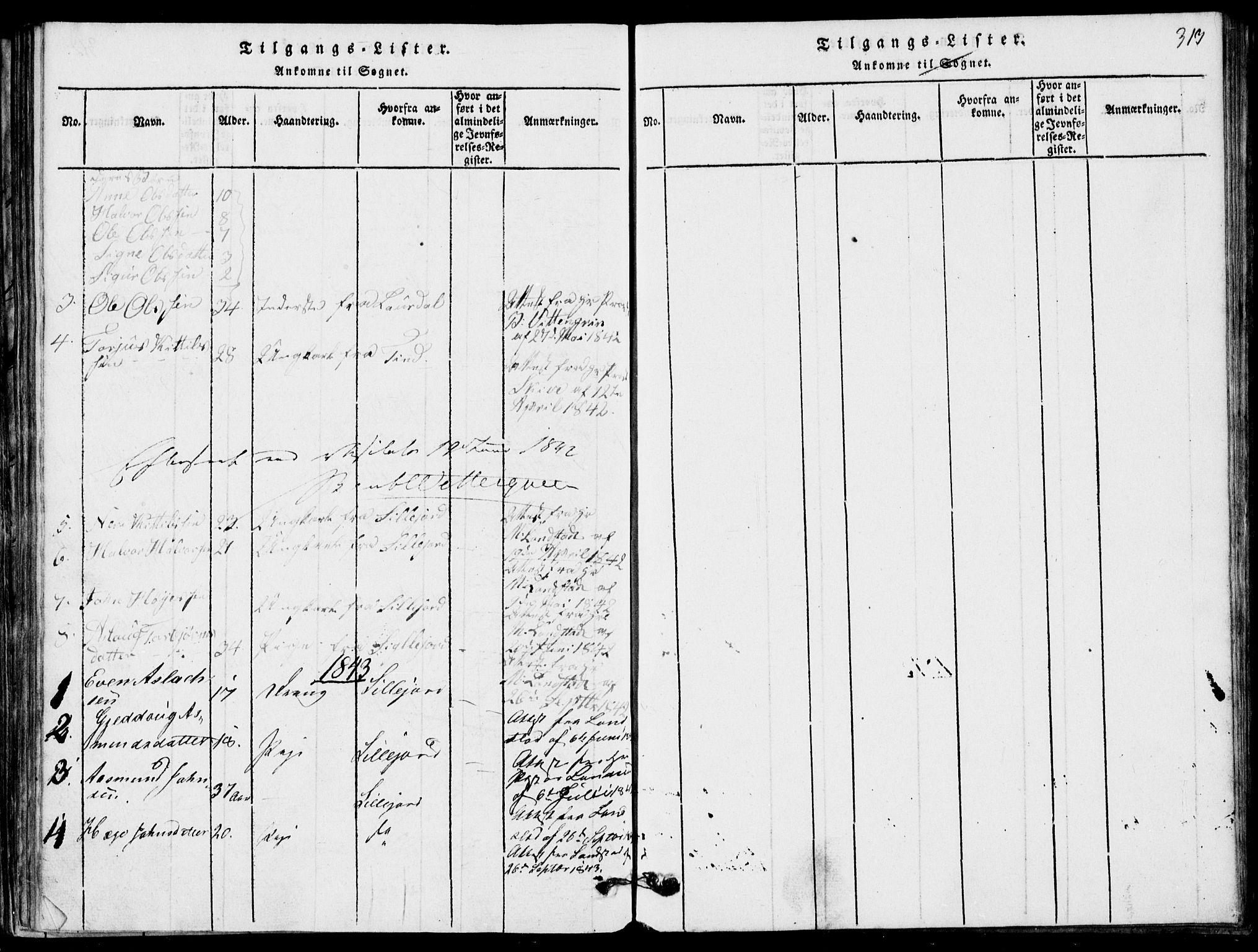 SAKO, Rauland kirkebøker, G/Ga/L0001: Klokkerbok nr. I 1, 1814-1843, s. 313