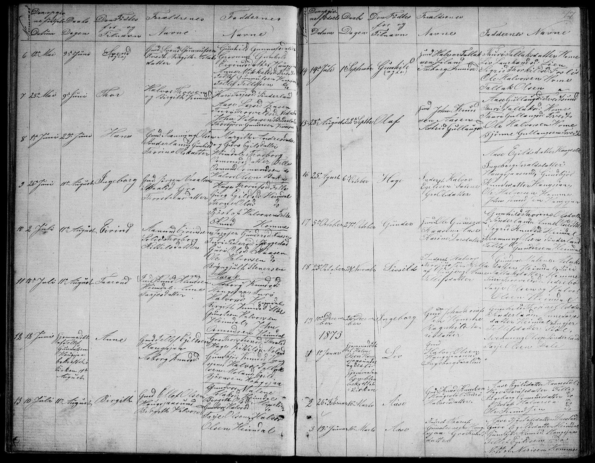 SAKO, Nissedal kirkebøker, G/Gb/L0002: Klokkerbok nr. II 2, 1863-1892, s. 17
