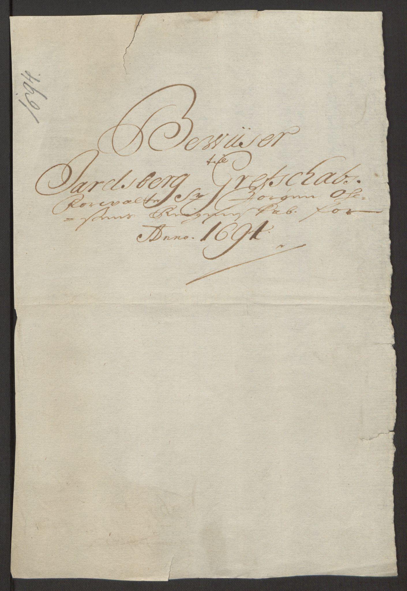 RA, Rentekammeret inntil 1814, Reviderte regnskaper, Fogderegnskap, R32/L1867: Fogderegnskap Jarlsberg grevskap, 1694-1696, s. 76
