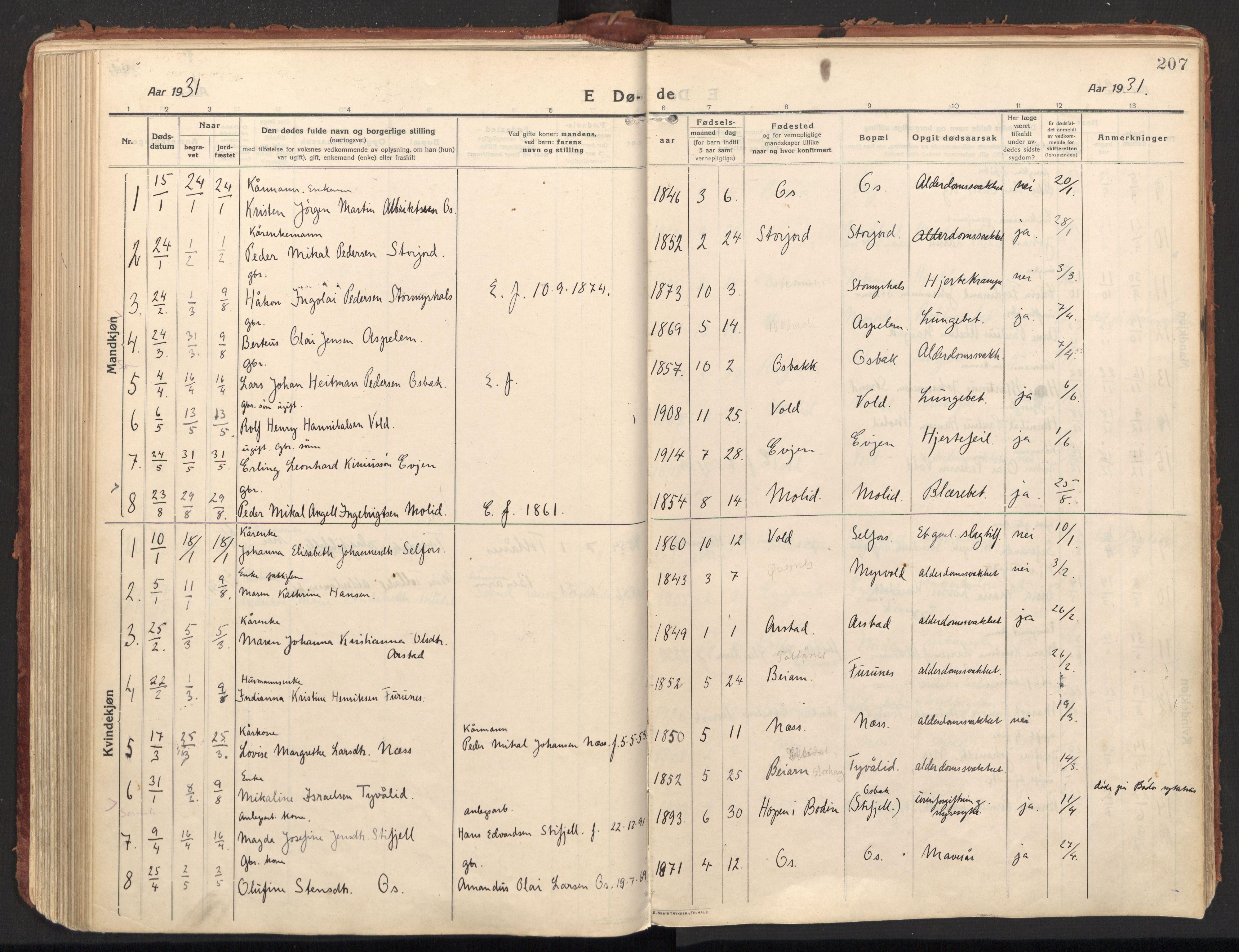 SAT, Ministerialprotokoller, klokkerbøker og fødselsregistre - Nordland, 846/L0650: Ministerialbok nr. 846A08, 1916-1935, s. 207