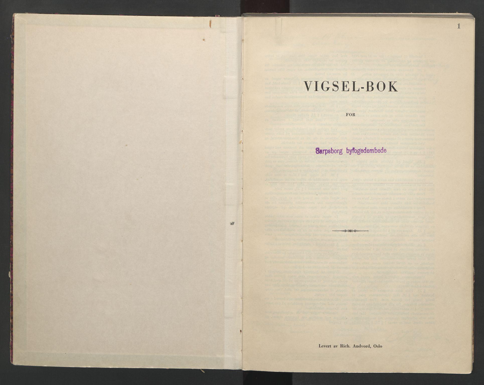 SAO, Sarpsborg byfogd, L/Lb/Lba/L0002: Vigselbok, 1942-1943, s. 1