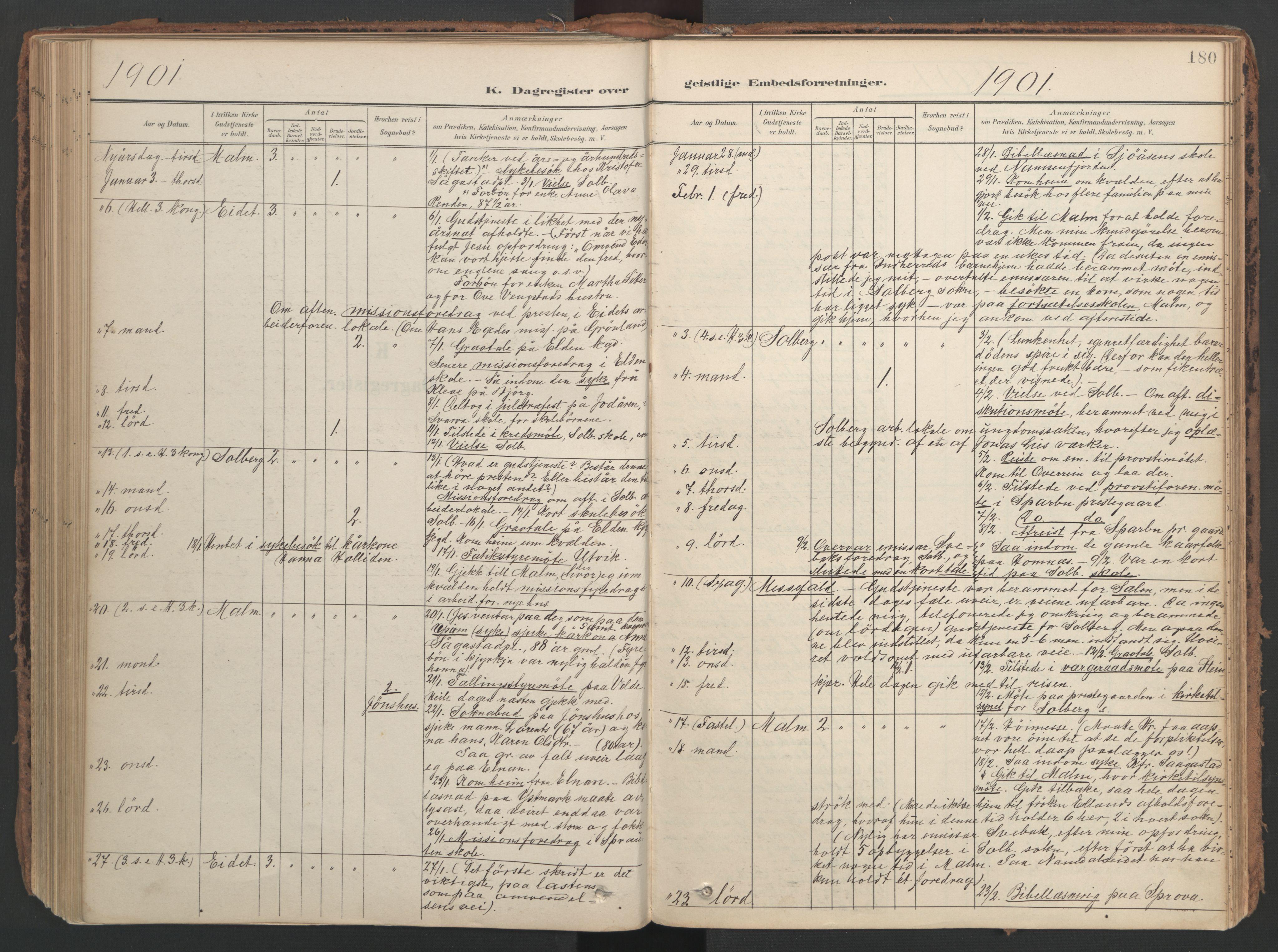 SAT, Ministerialprotokoller, klokkerbøker og fødselsregistre - Nord-Trøndelag, 741/L0397: Ministerialbok nr. 741A11, 1901-1911, s. 180
