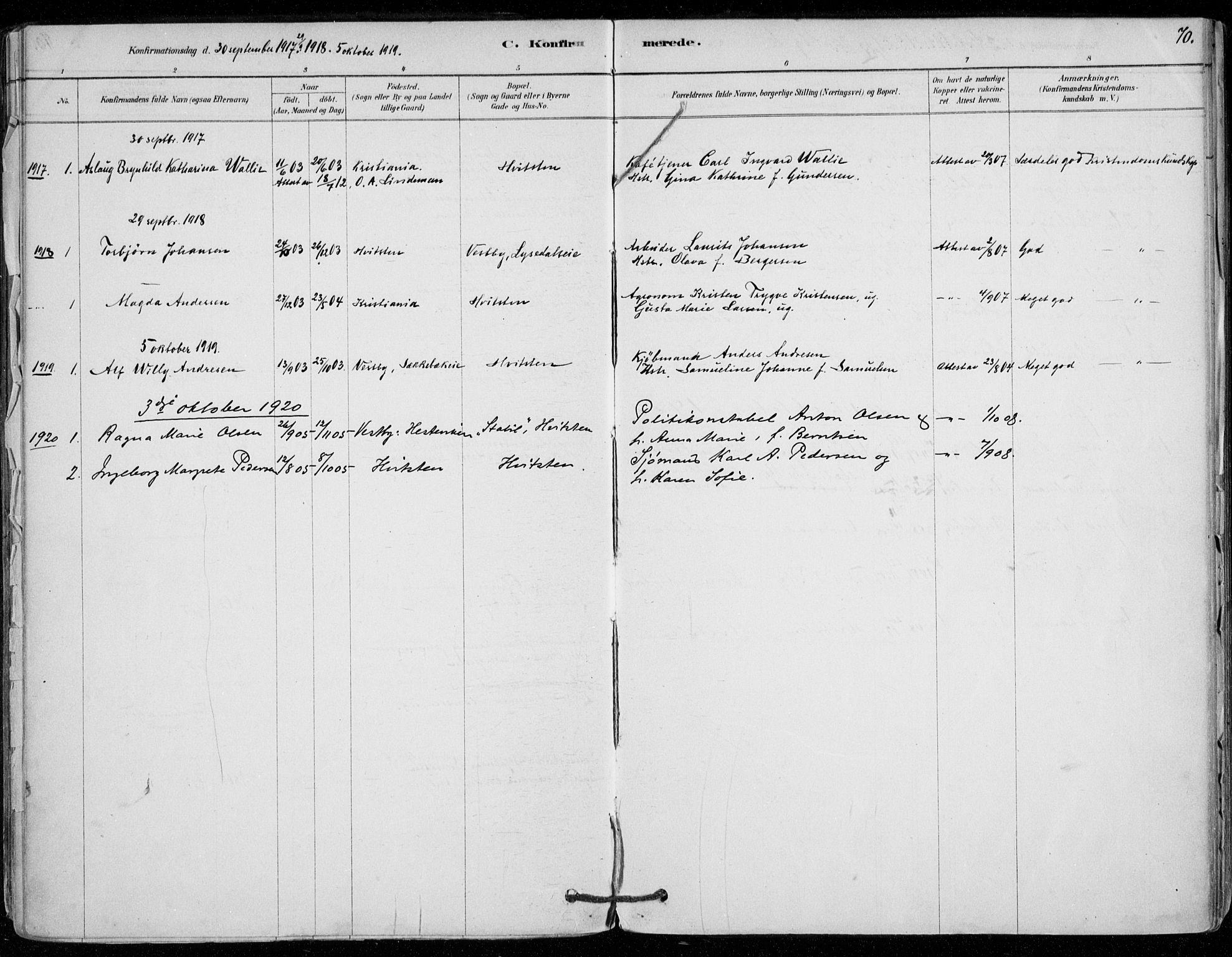 SAO, Vestby prestekontor Kirkebøker, F/Fd/L0001: Ministerialbok nr. IV 1, 1878-1945, s. 70