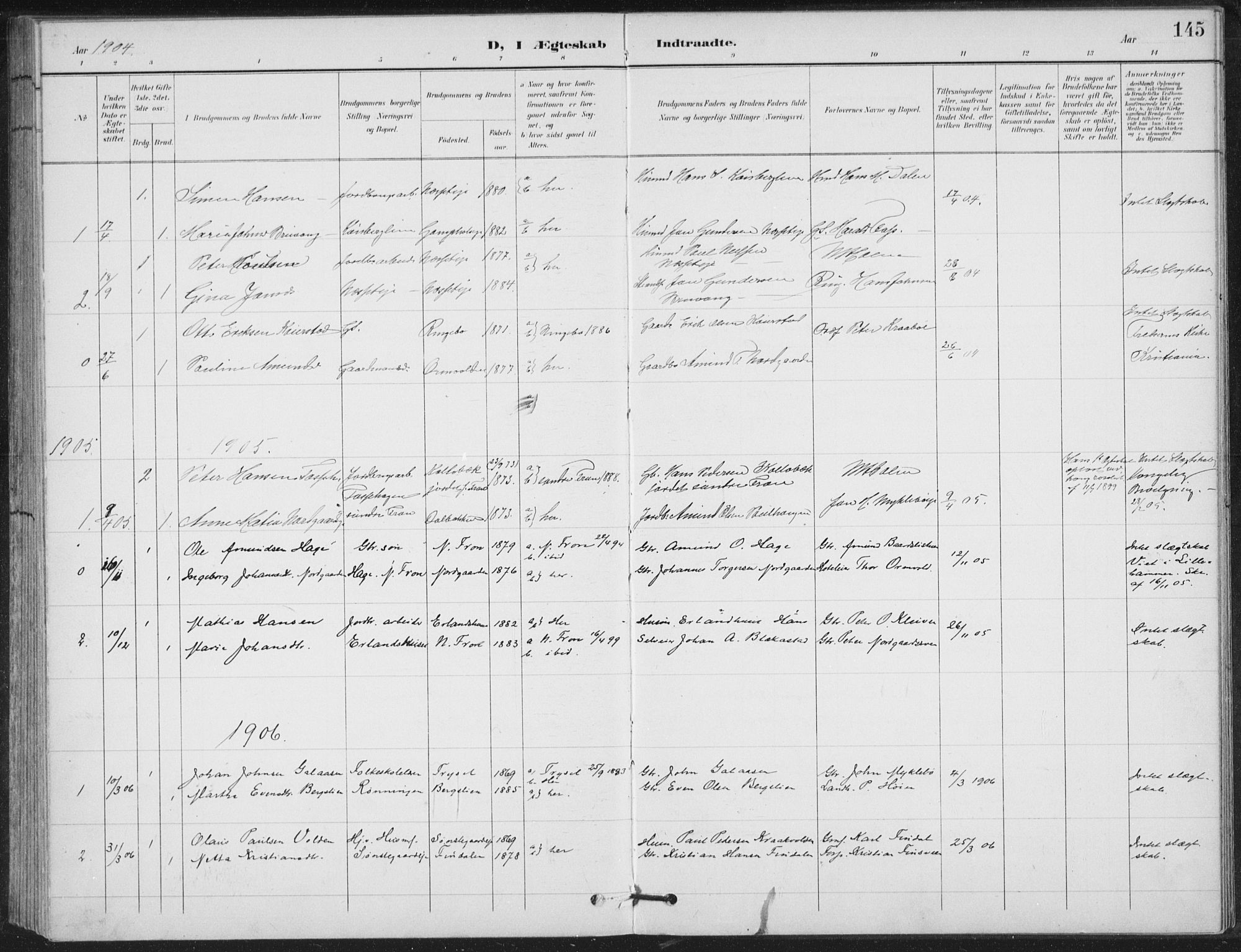 SAH, Vestre Gausdal prestekontor, Klokkerbok nr. 4, 1898-1939, s. 145