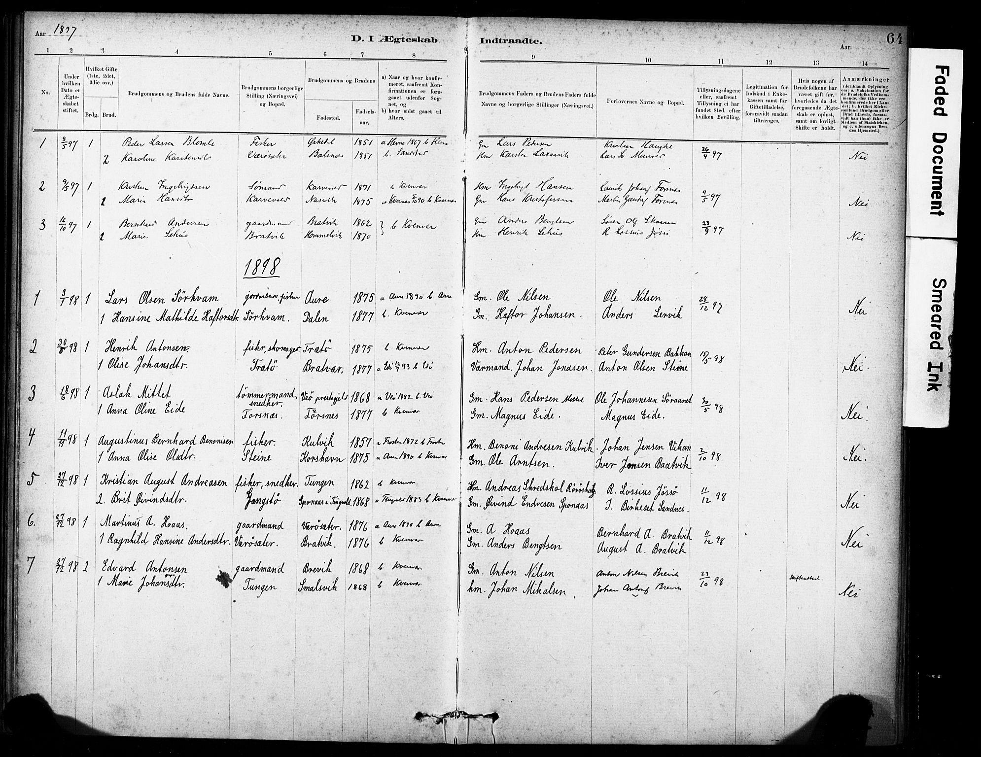 SAT, Ministerialprotokoller, klokkerbøker og fødselsregistre - Sør-Trøndelag, 635/L0551: Ministerialbok nr. 635A01, 1882-1899, s. 64