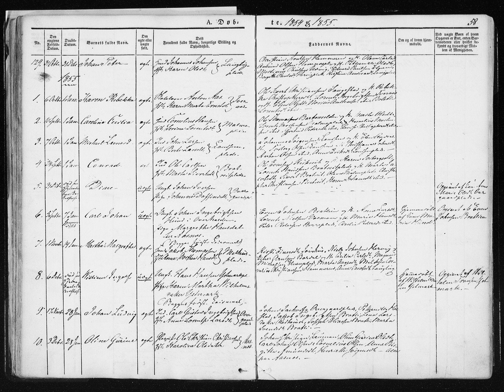 SAT, Ministerialprotokoller, klokkerbøker og fødselsregistre - Nord-Trøndelag, 741/L0393: Ministerialbok nr. 741A07, 1849-1863, s. 58