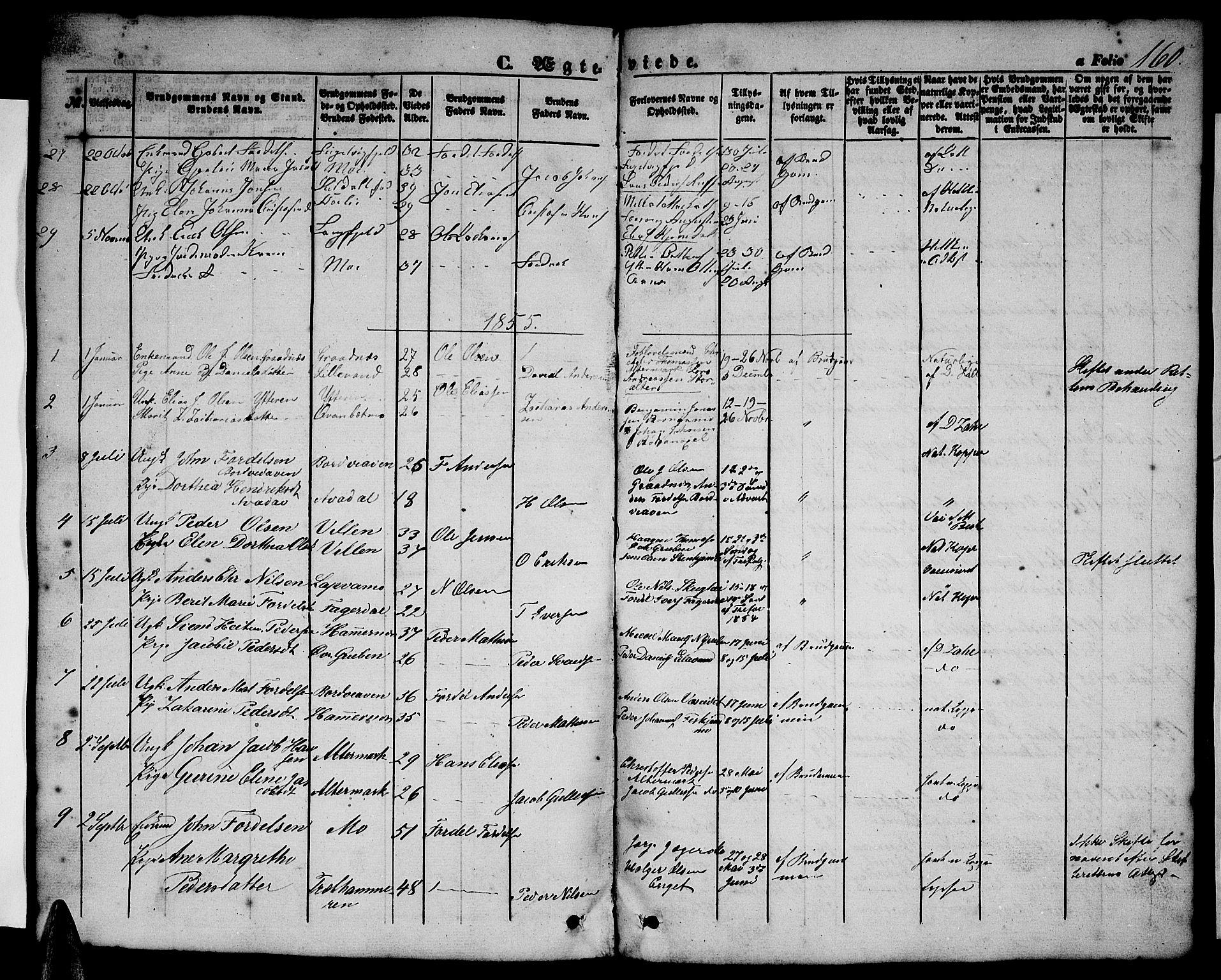 SAT, Ministerialprotokoller, klokkerbøker og fødselsregistre - Nordland, 827/L0414: Klokkerbok nr. 827C03, 1853-1865, s. 160