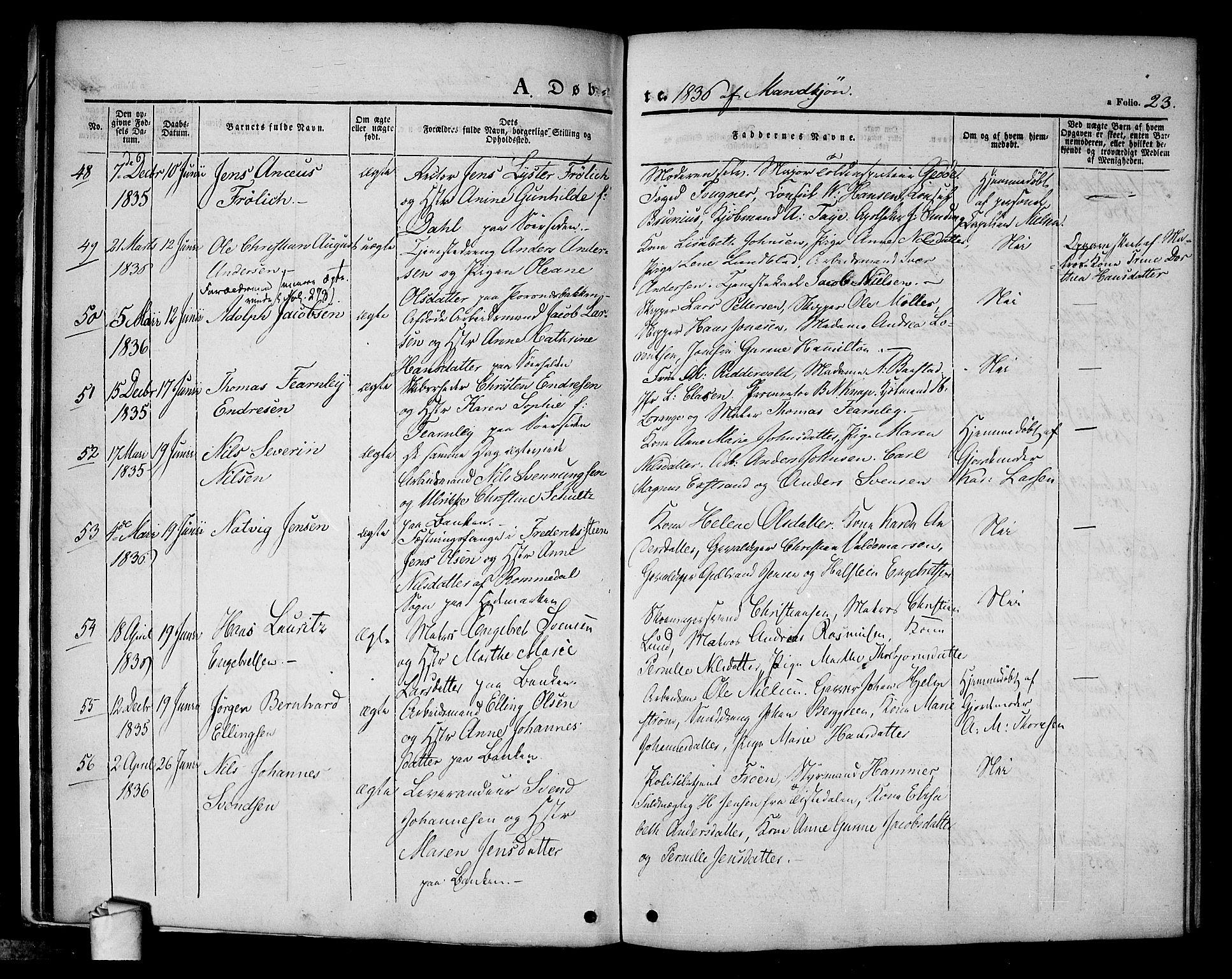 SAO, Halden prestekontor Kirkebøker, F/Fa/L0005: Ministerialbok nr. I 5, 1834-1845, s. 23