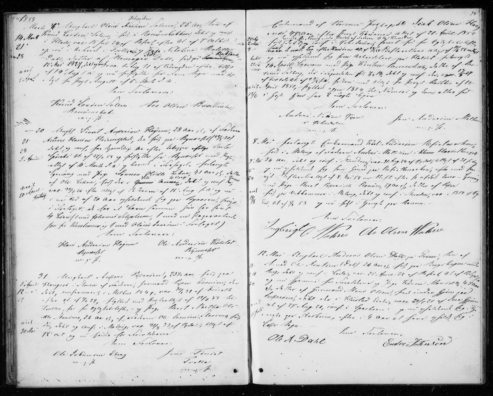 SAT, Ministerialprotokoller, klokkerbøker og fødselsregistre - Sør-Trøndelag, 606/L0297: Lysningsprotokoll nr. 606A12, 1854-1861, s. 34