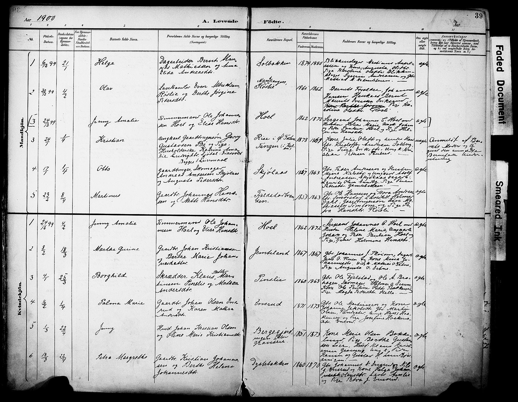 SAH, Vestre Toten prestekontor, H/Ha/Haa/L0013: Ministerialbok nr. 13, 1895-1911, s. 39