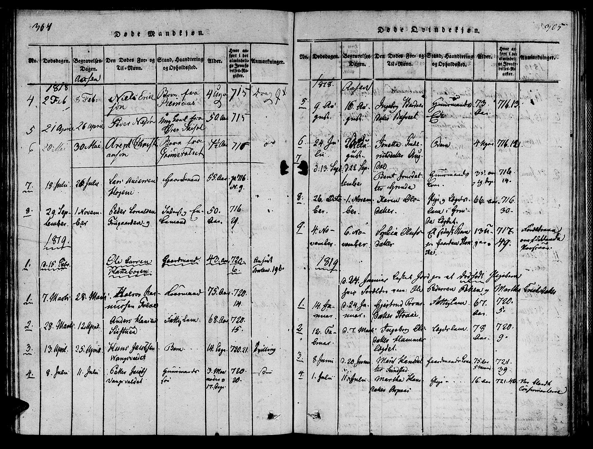 SAT, Ministerialprotokoller, klokkerbøker og fødselsregistre - Nord-Trøndelag, 713/L0112: Ministerialbok nr. 713A04 /2, 1817-1827, s. 304-305