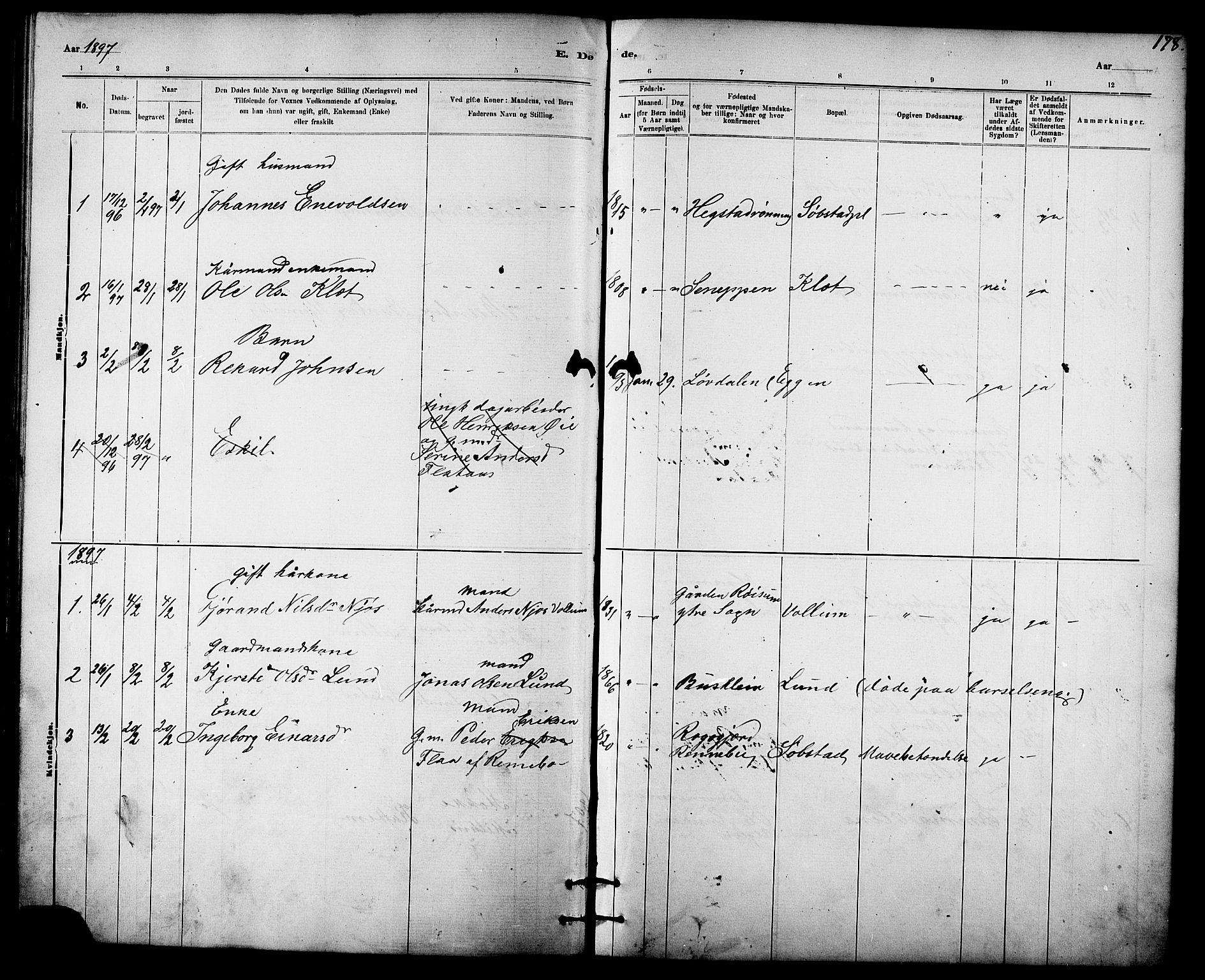 SAT, Ministerialprotokoller, klokkerbøker og fødselsregistre - Sør-Trøndelag, 613/L0395: Klokkerbok nr. 613C03, 1887-1909, s. 178