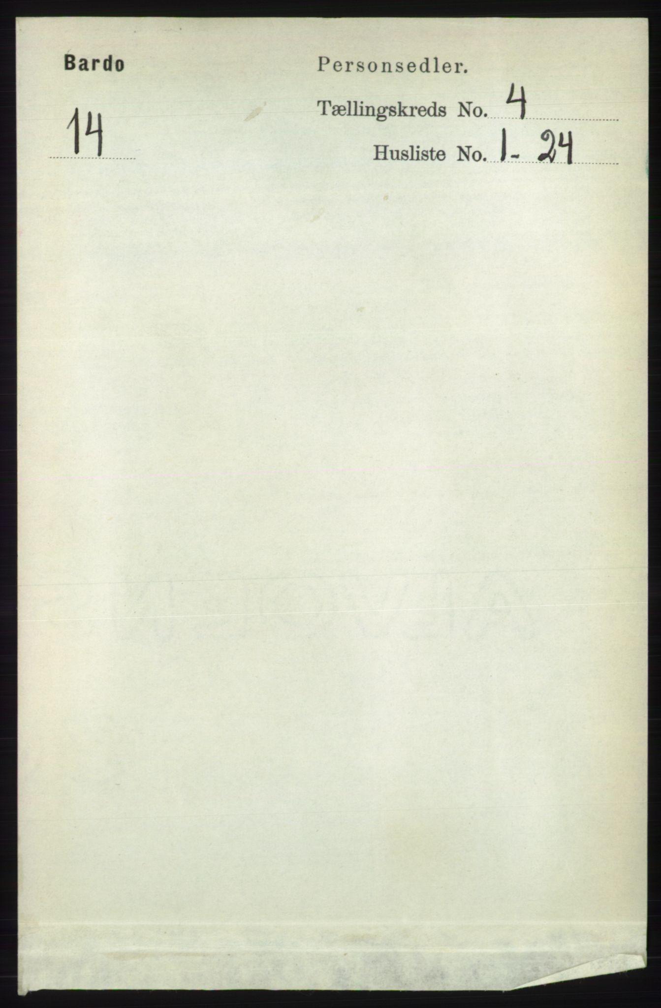 RA, Folketelling 1891 for 1922 Bardu herred, 1891, s. 1327