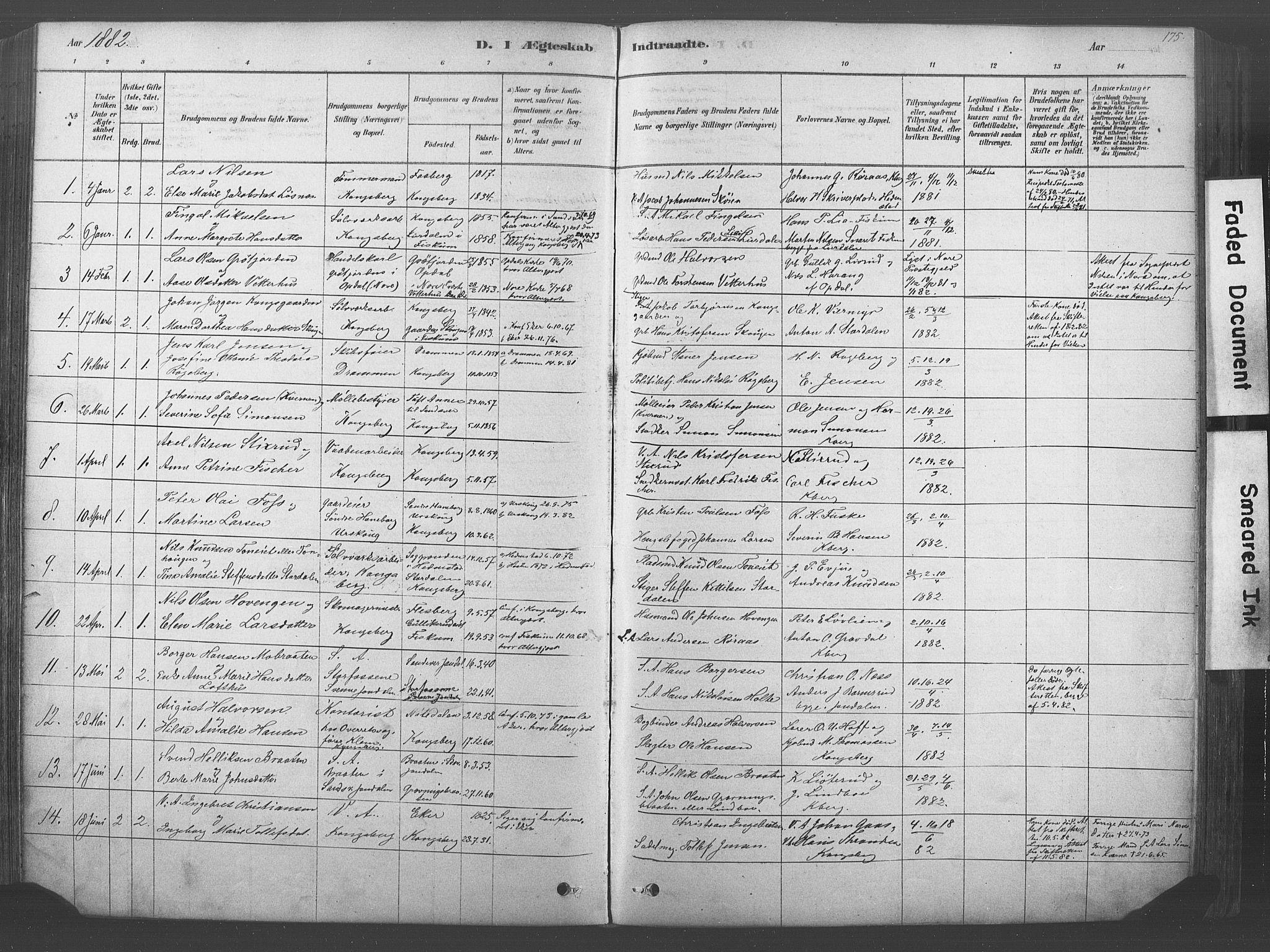 SAKO, Kongsberg kirkebøker, F/Fb/L0001: Ministerialbok nr. II 1, 1878-1886, s. 175