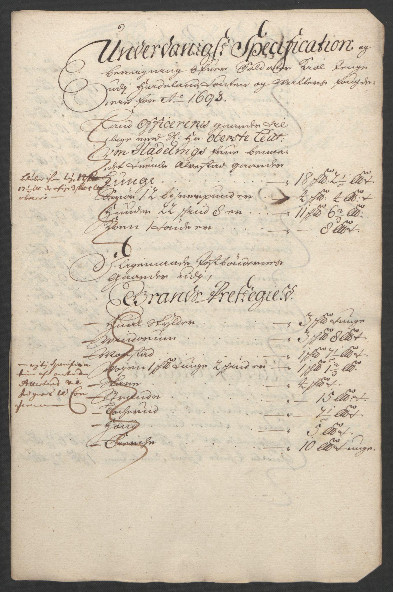 RA, Rentekammeret inntil 1814, Reviderte regnskaper, Fogderegnskap, R18/L1292: Fogderegnskap Hadeland, Toten og Valdres, 1693-1694, s. 164