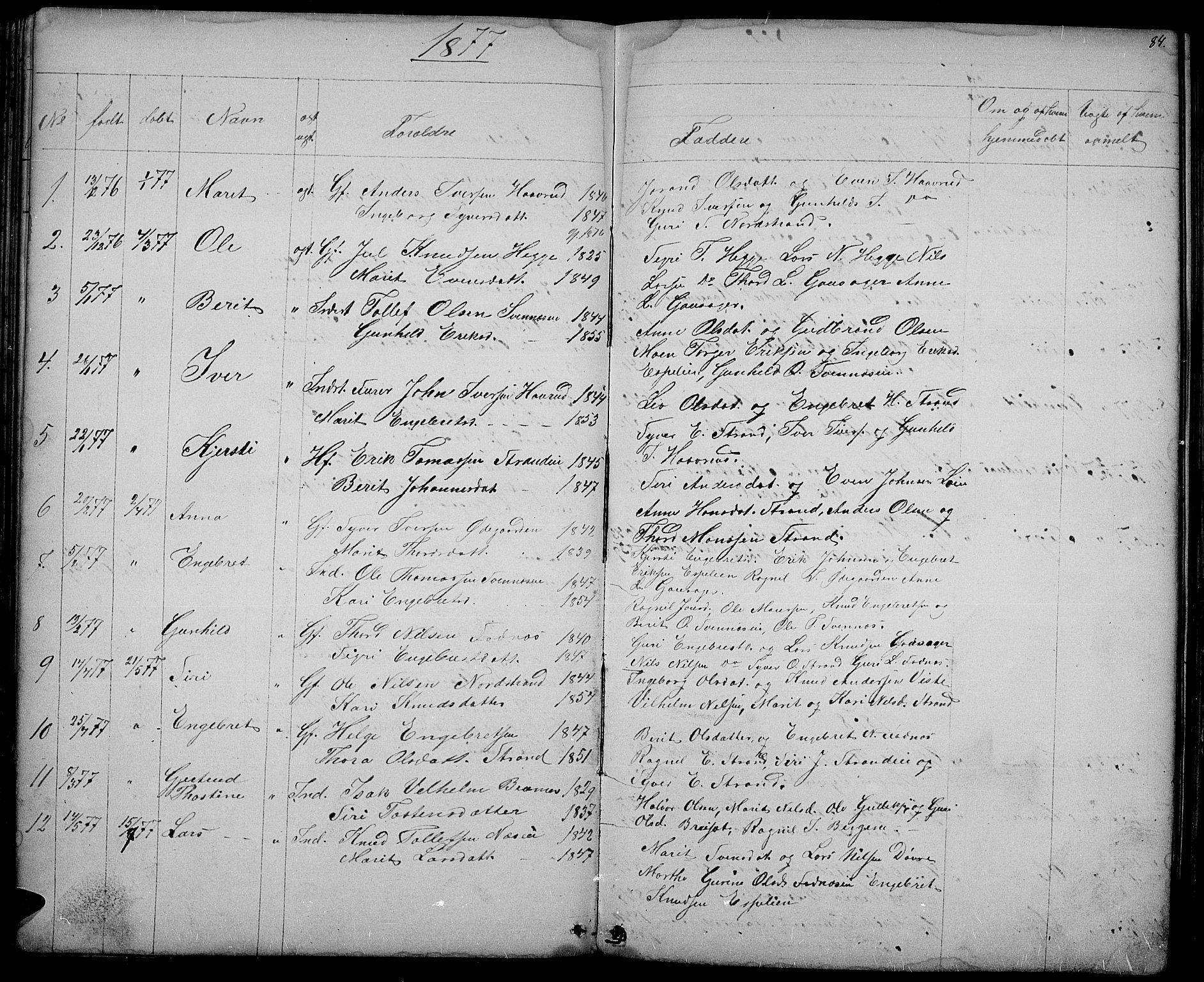 SAH, Nord-Aurdal prestekontor, Klokkerbok nr. 3, 1842-1882, s. 84