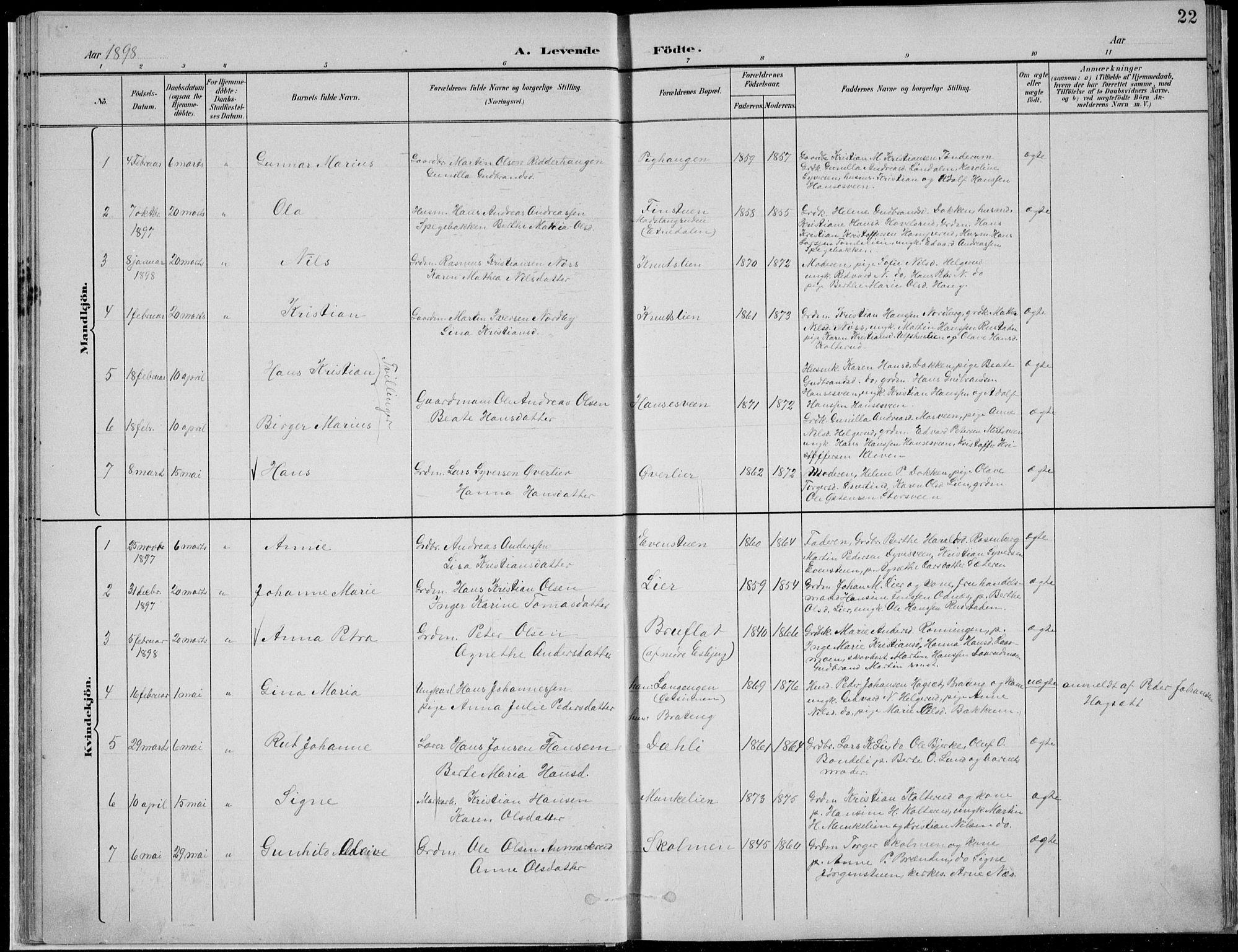 SAH, Nordre Land prestekontor, Klokkerbok nr. 13, 1891-1904, s. 22
