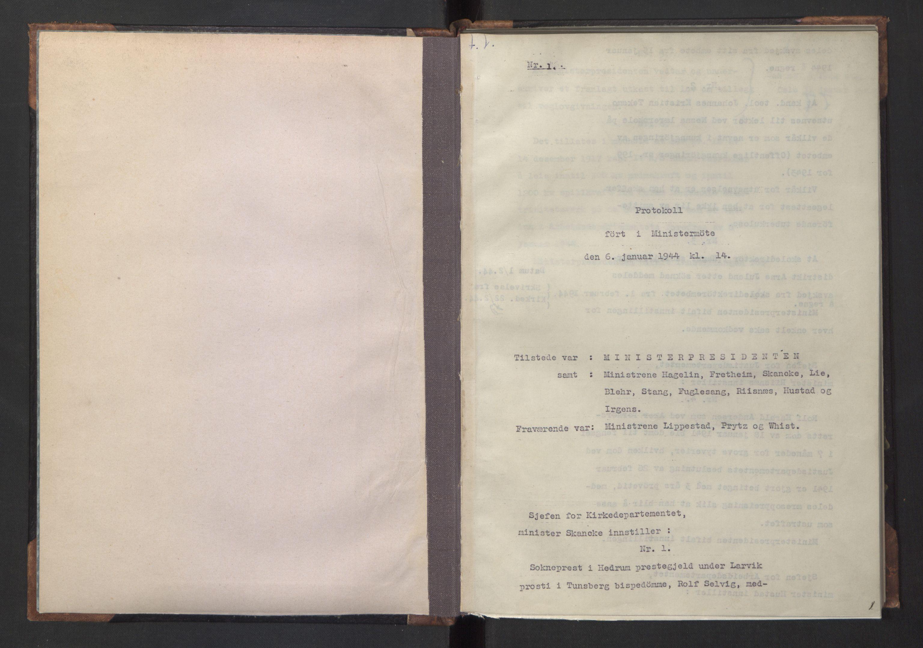 RA, NS-administrasjonen 1940-1945 (Statsrådsekretariatet, de kommisariske statsråder mm), D/Da/L0005: Protokoll fra ministermøter, 1944, s. 1a