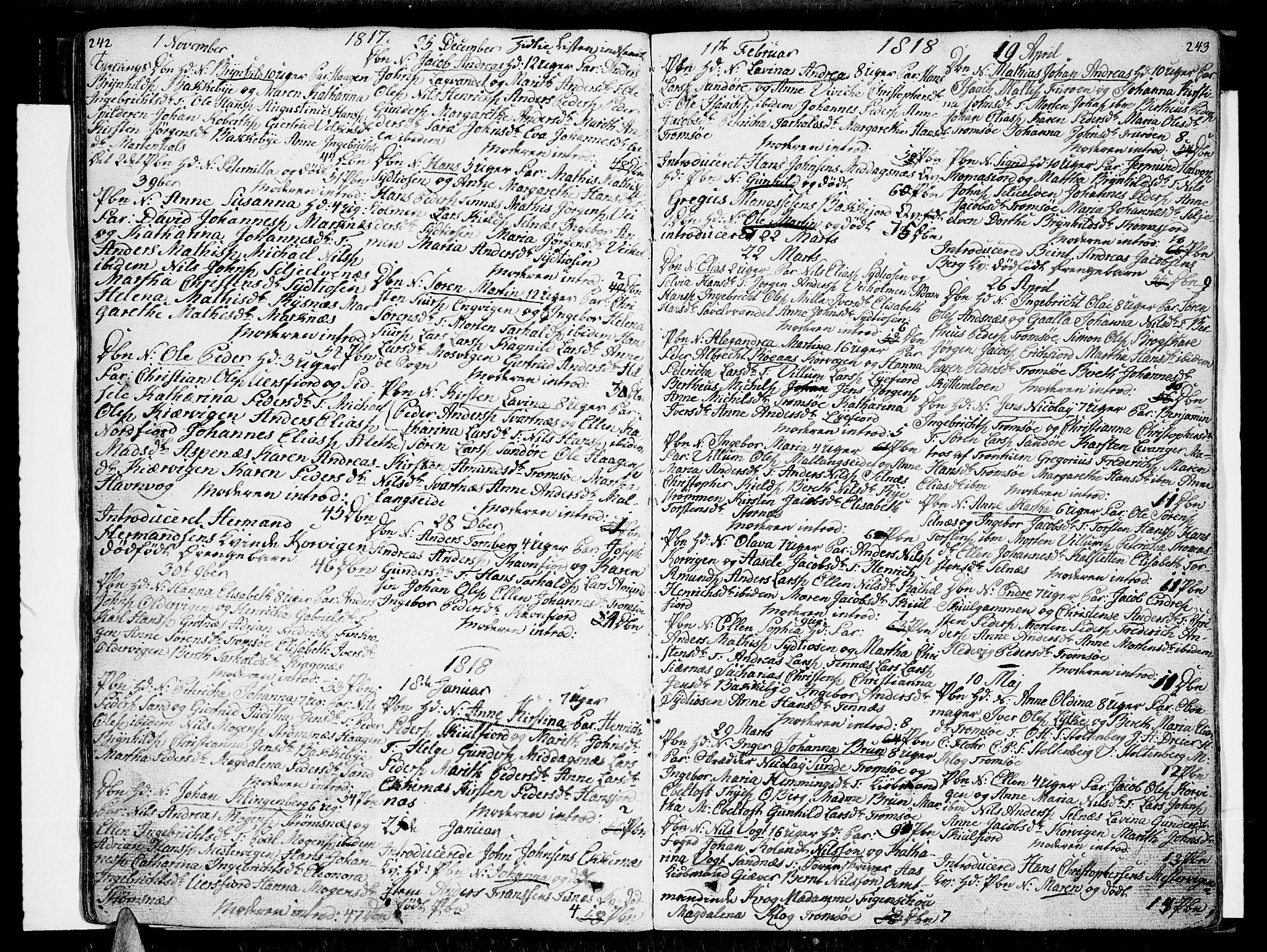 SATØ, Tromsø sokneprestkontor/stiftsprosti/domprosti, G/Ga/L0006kirke: Ministerialbok nr. 6, 1806-1821, s. 242-243