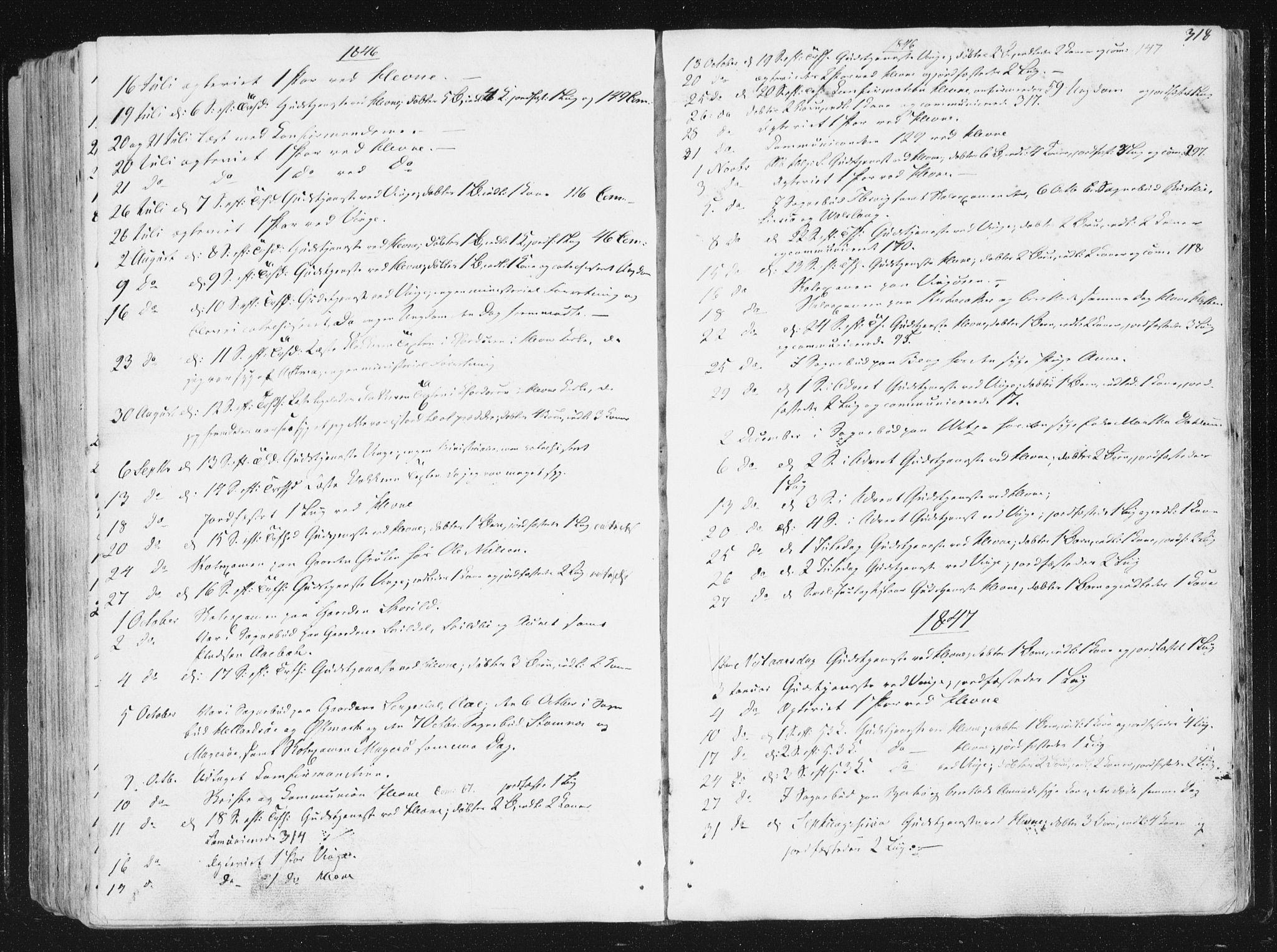 SAT, Ministerialprotokoller, klokkerbøker og fødselsregistre - Sør-Trøndelag, 630/L0493: Ministerialbok nr. 630A06, 1841-1851, s. 318