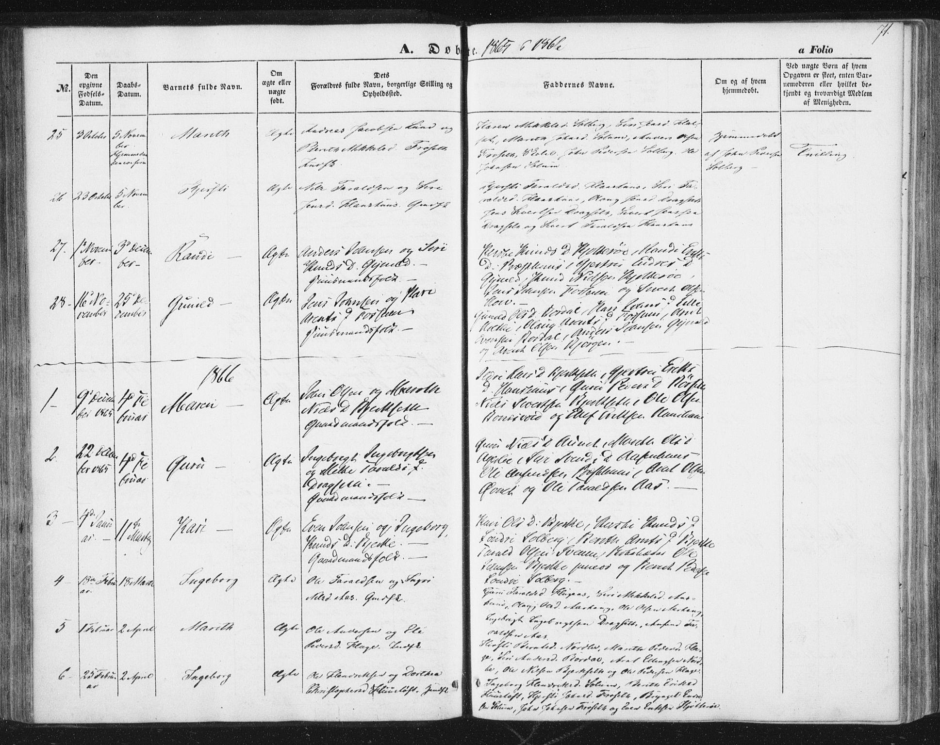 SAT, Ministerialprotokoller, klokkerbøker og fødselsregistre - Sør-Trøndelag, 689/L1038: Ministerialbok nr. 689A03, 1848-1872, s. 71