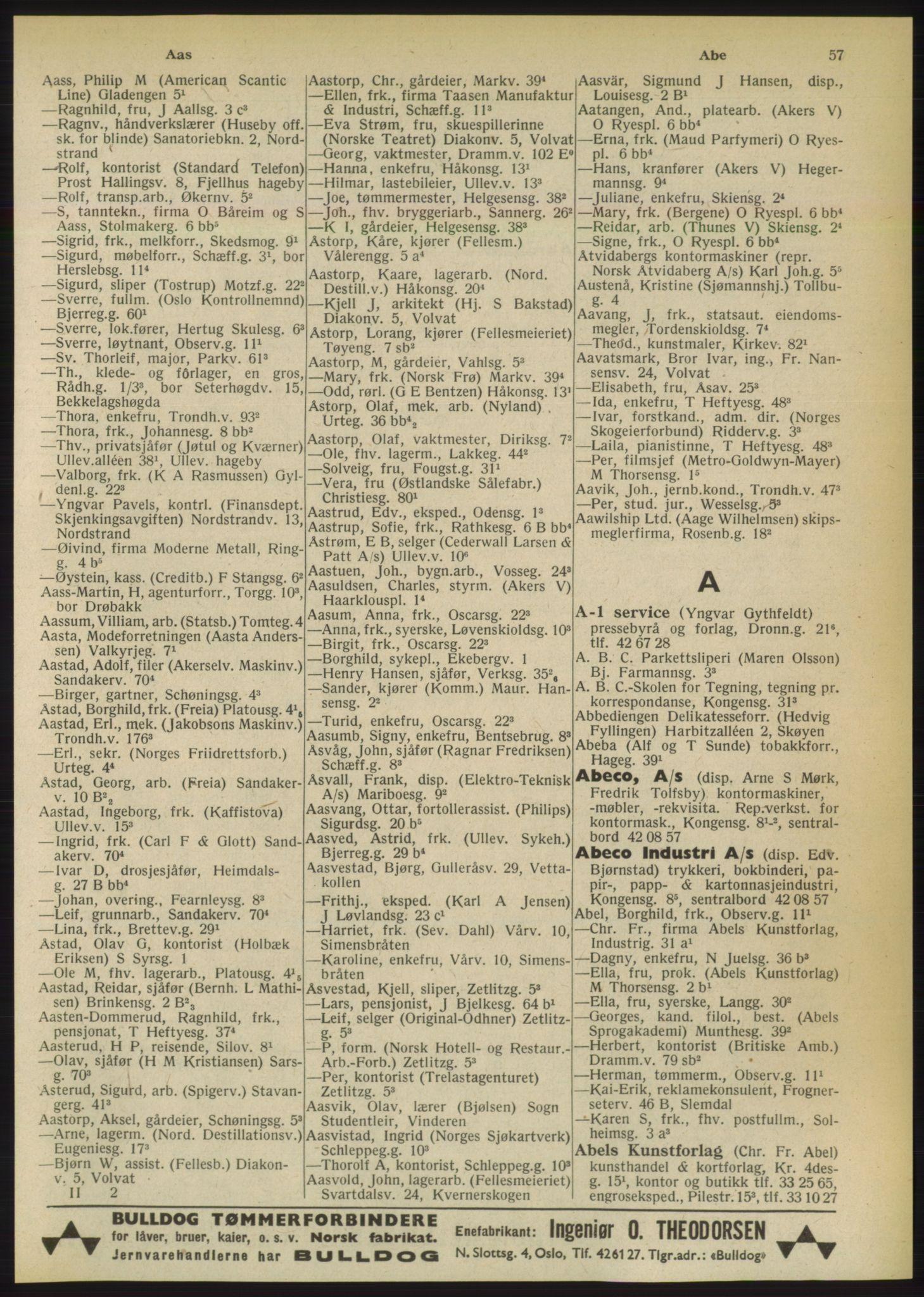 PUBL, Kristiania/Oslo adressebok, 1949, s. 57