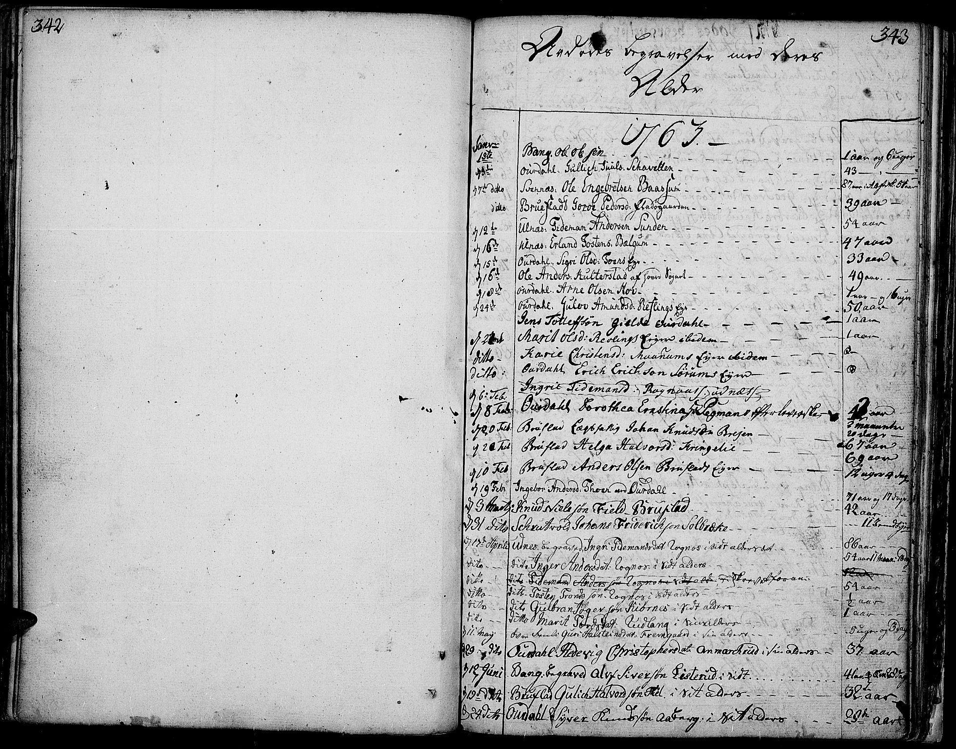 SAH, Aurdal prestekontor, Ministerialbok nr. 5, 1763-1781, s. 342-343