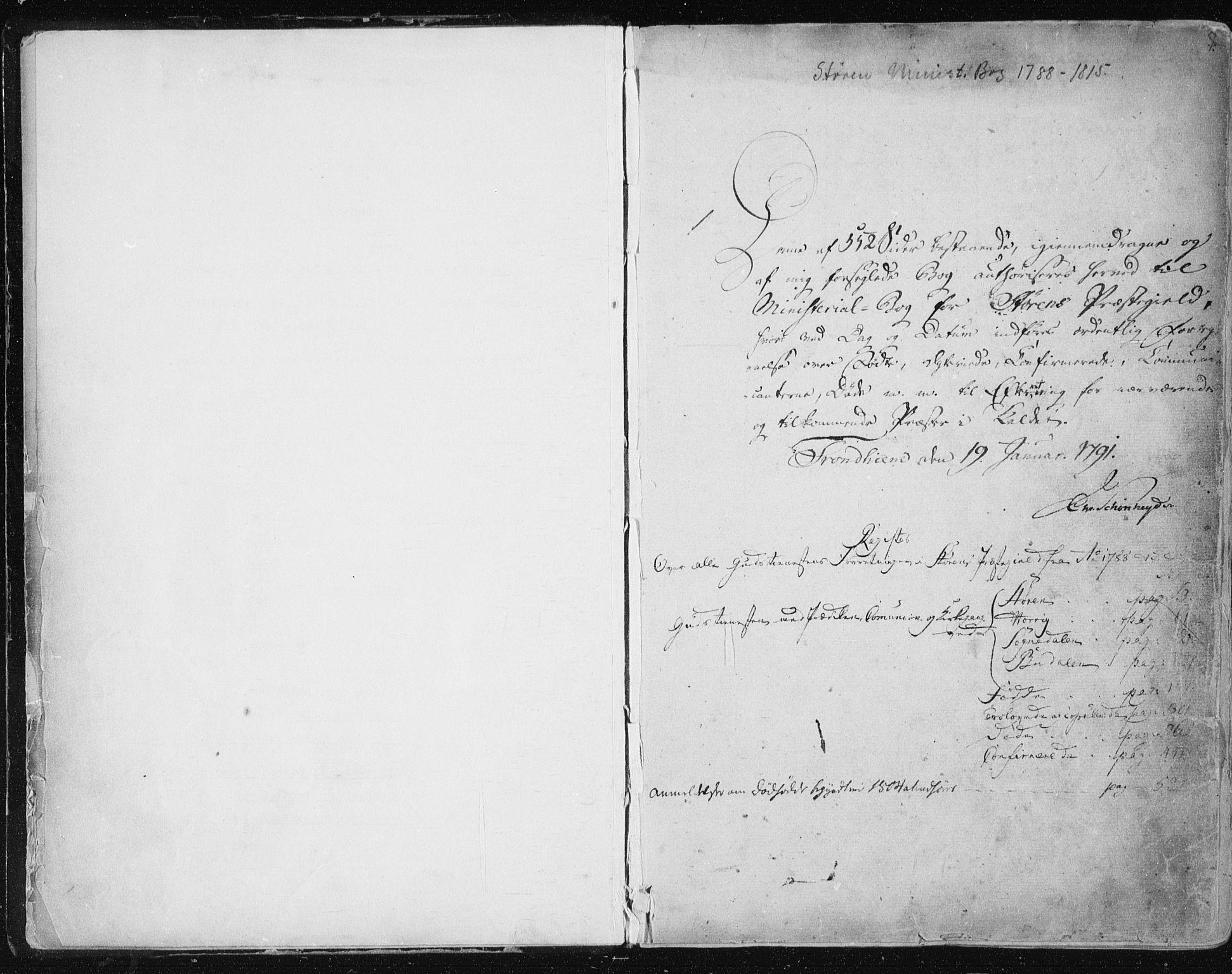 SAT, Ministerialprotokoller, klokkerbøker og fødselsregistre - Sør-Trøndelag, 687/L0993: Ministerialbok nr. 687A03 /2, 1788-1815, s. 1