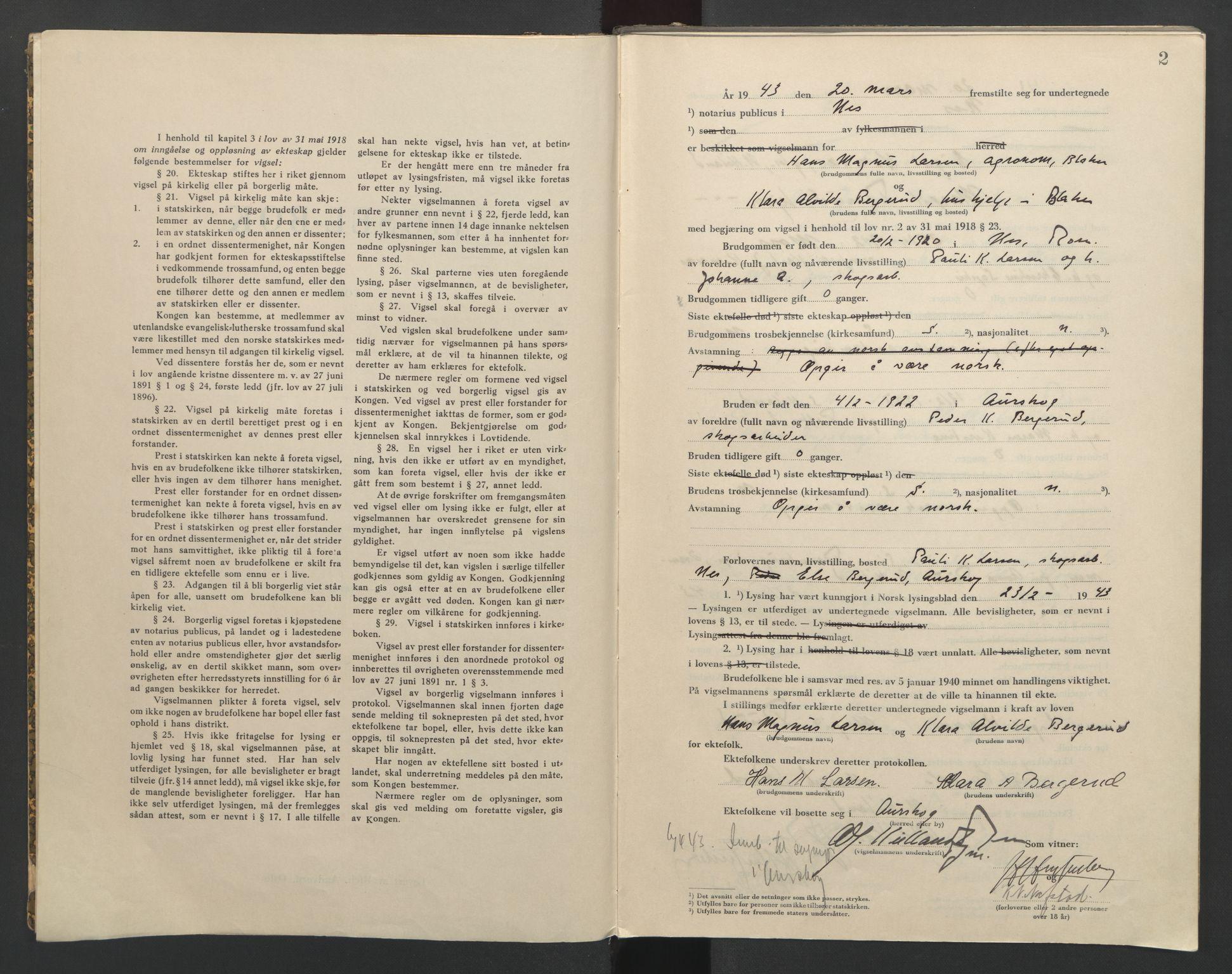 SAO, Nes tingrett, L/Lc/Lca/L0002: Vigselbok, 1943-1944, s. 2