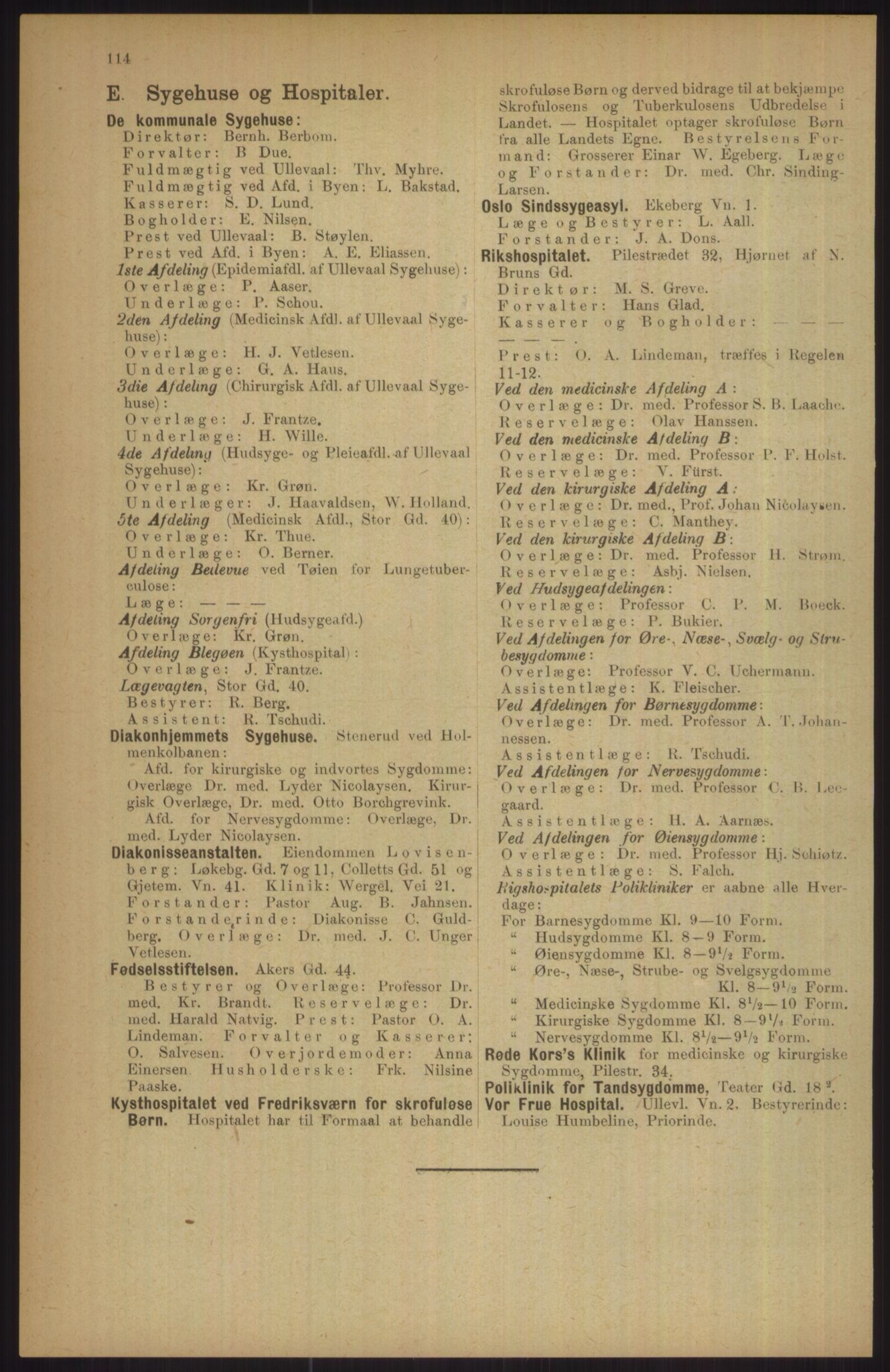 RA, Kristiania adressebok (publikasjon)*, 1911, s. 114