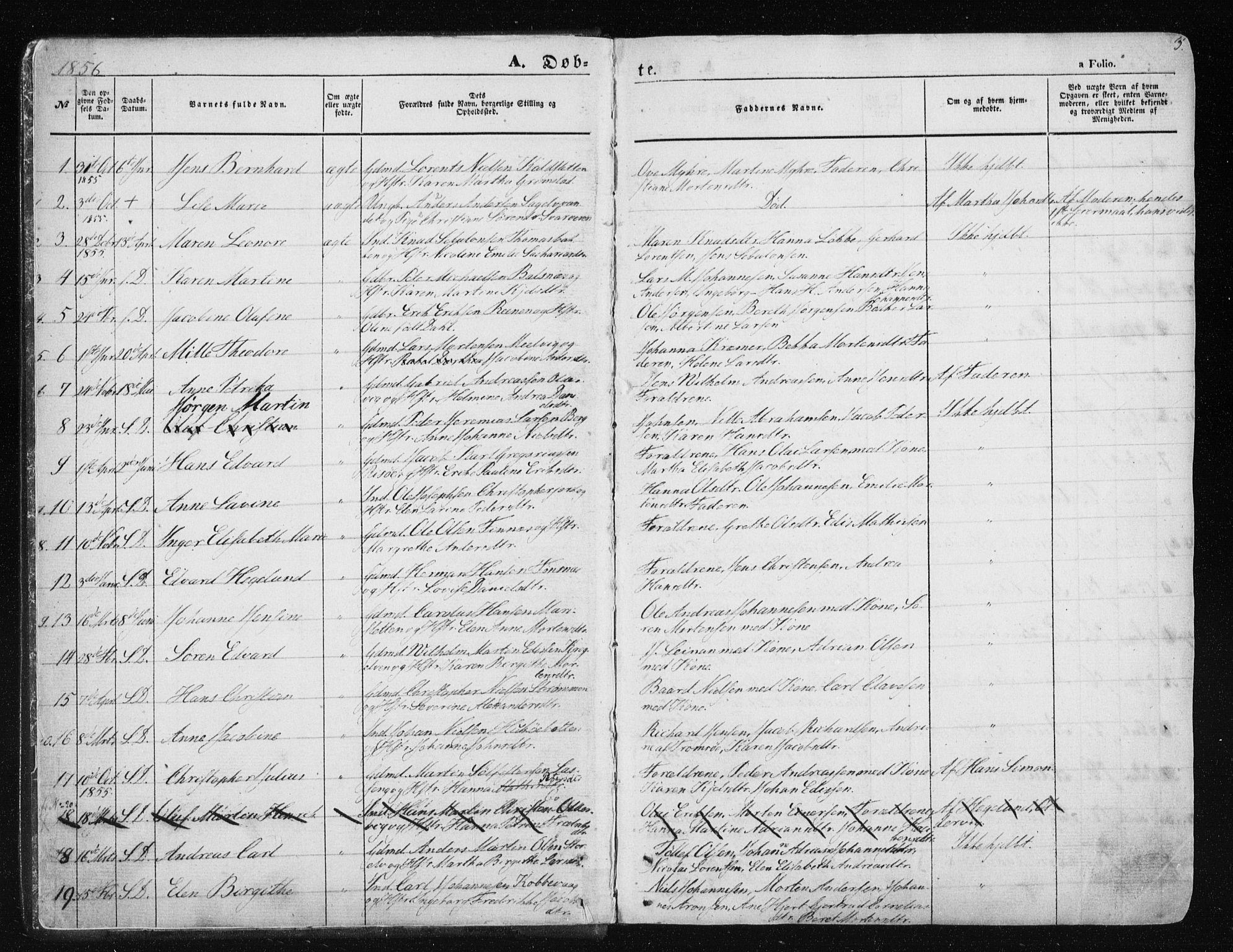 SATØ, Tromsøysund sokneprestkontor, G/Ga/L0001kirke: Ministerialbok nr. 1, 1856-1867, s. 3