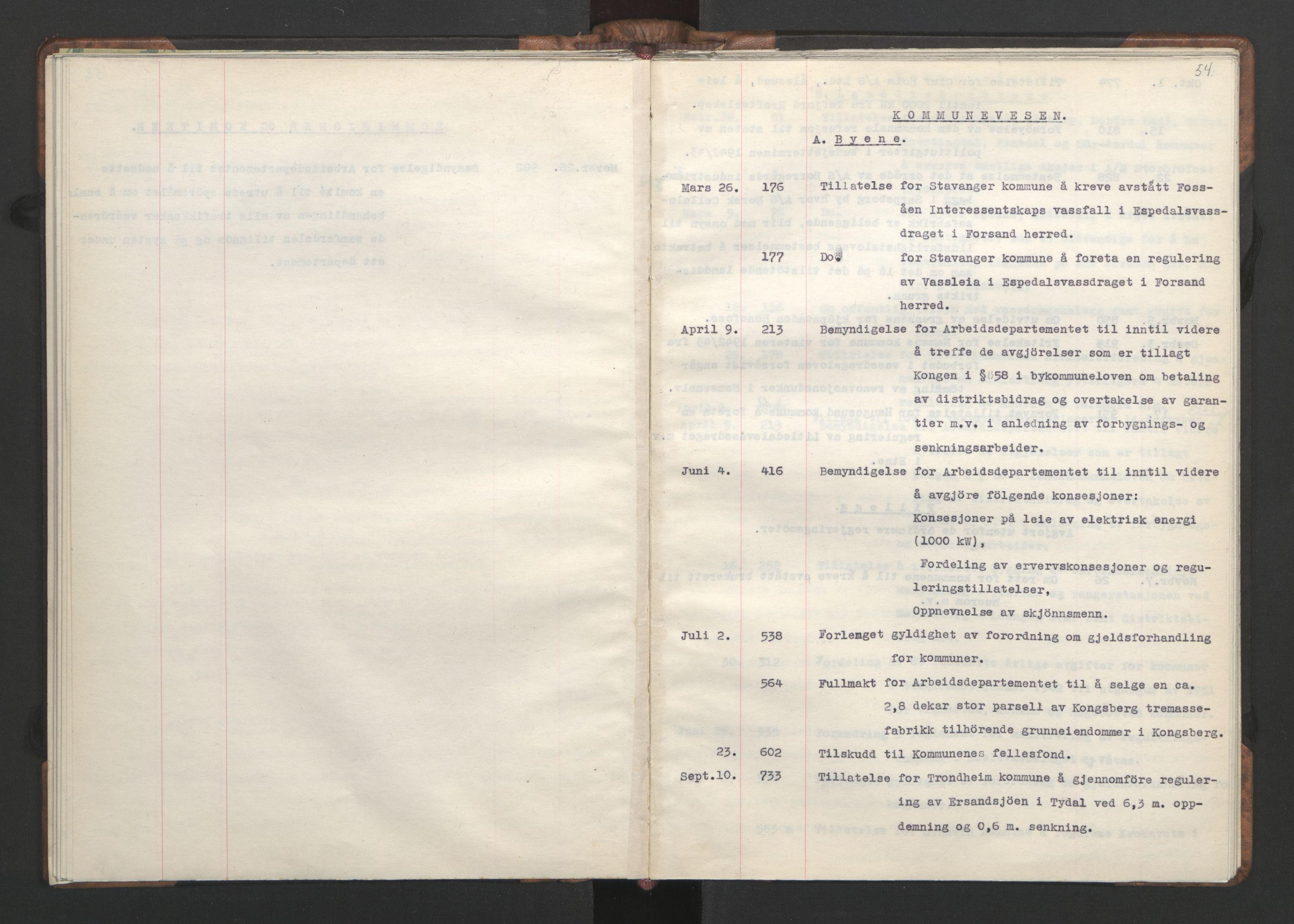 RA, NS-administrasjonen 1940-1945 (Statsrådsekretariatet, de kommisariske statsråder mm), D/Da/L0002: Register (RA j.nr. 985/1943, tilgangsnr. 17/1943), 1942, s. 53b-54a