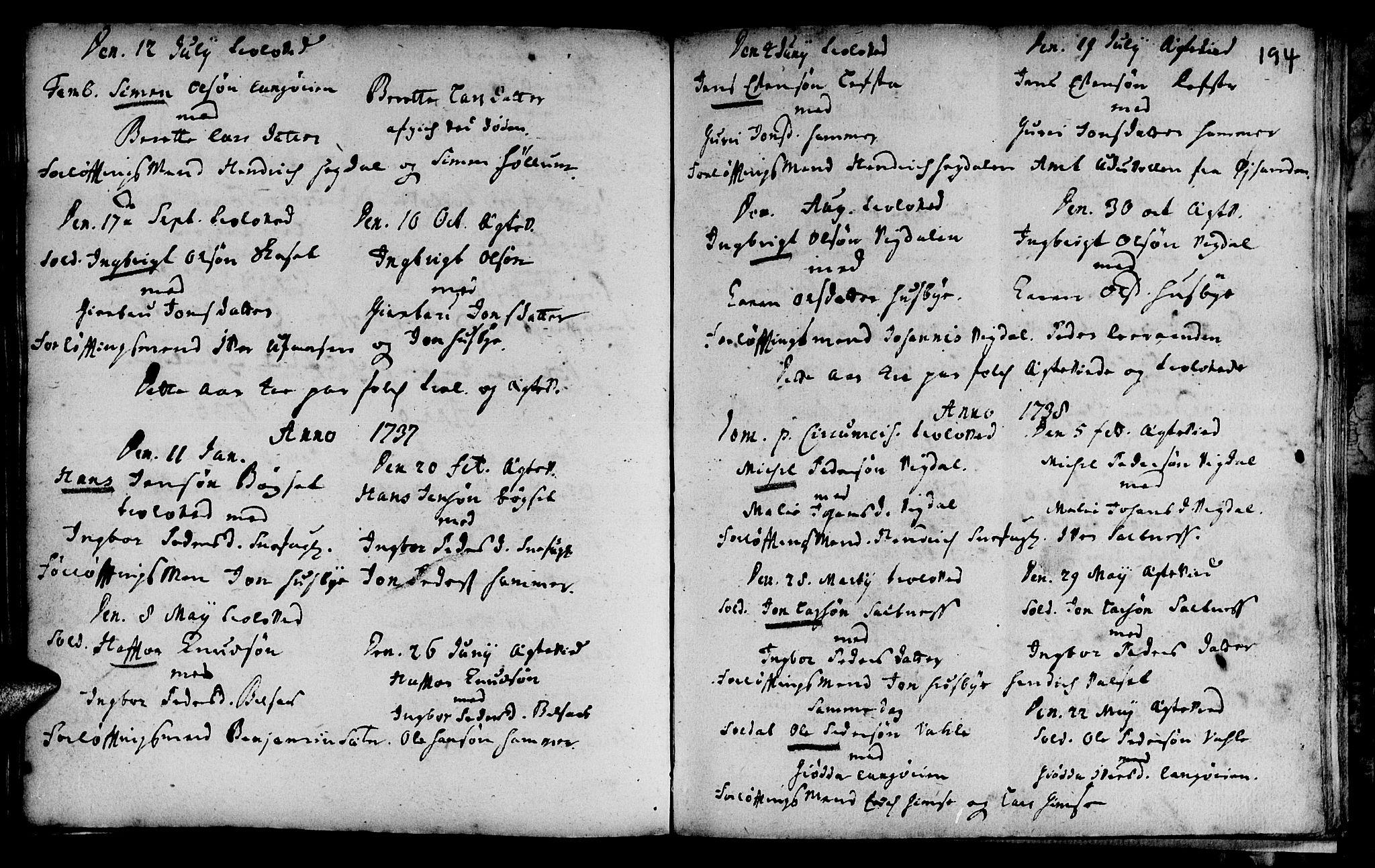 SAT, Ministerialprotokoller, klokkerbøker og fødselsregistre - Sør-Trøndelag, 666/L0783: Ministerialbok nr. 666A01, 1702-1753, s. 194