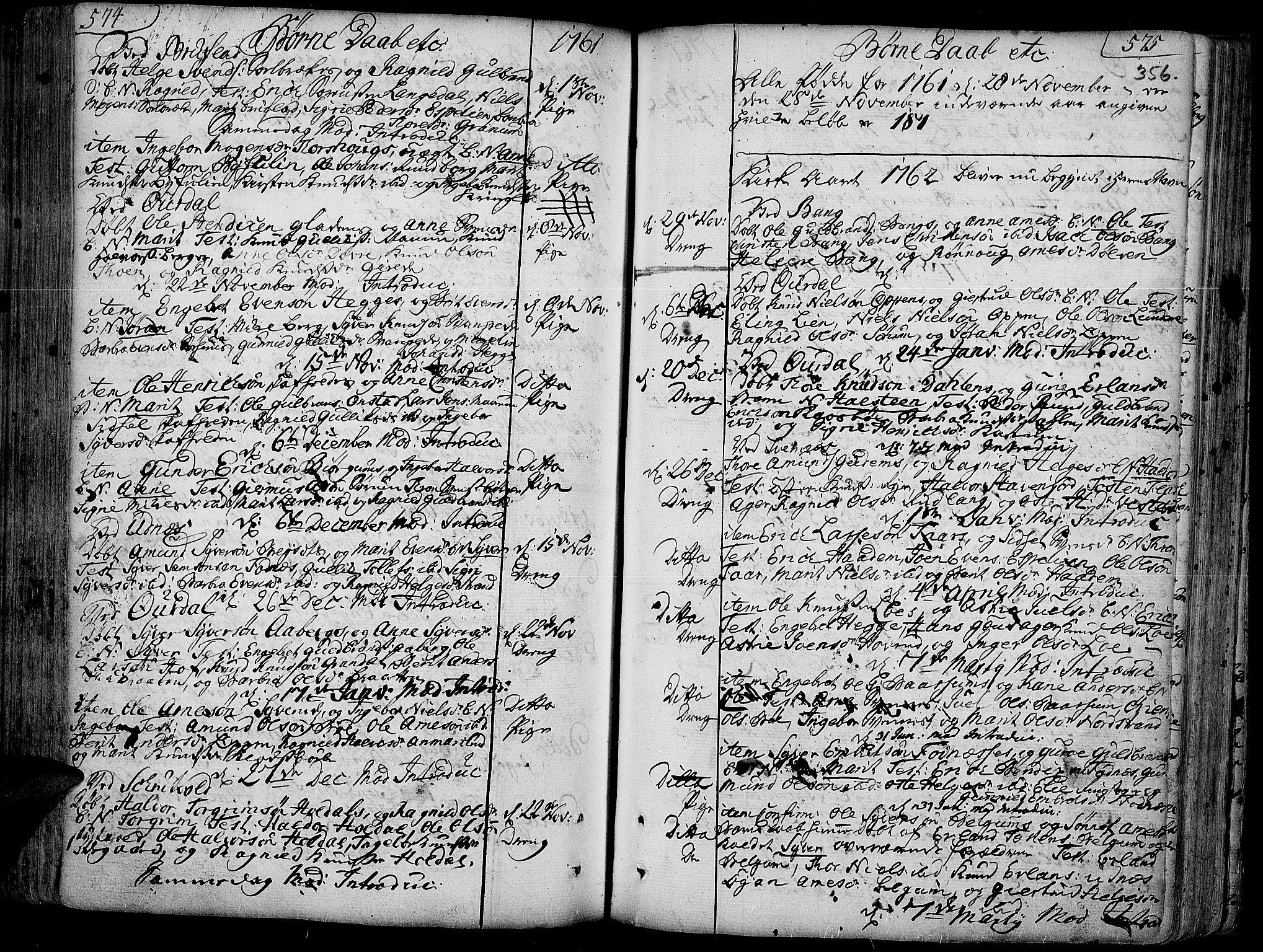 SAH, Aurdal prestekontor, Ministerialbok nr. 4, 1730-1762, s. 574-575