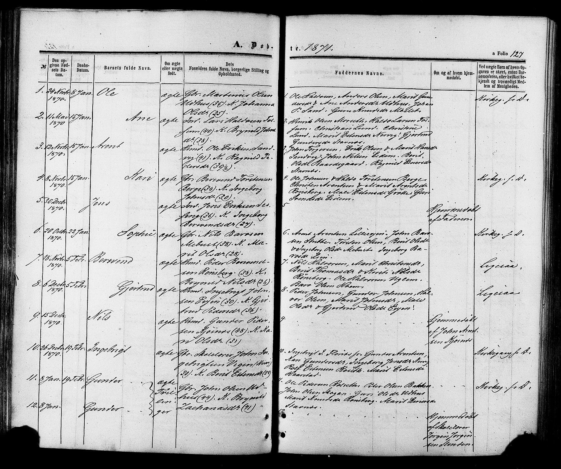 SAT, Ministerialprotokoller, klokkerbøker og fødselsregistre - Sør-Trøndelag, 695/L1147: Ministerialbok nr. 695A07, 1860-1877, s. 127