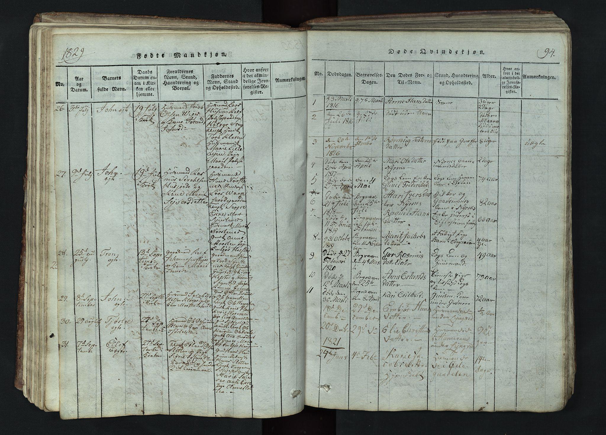 SAH, Lom prestekontor, L/L0002: Klokkerbok nr. 2, 1815-1844, s. 94