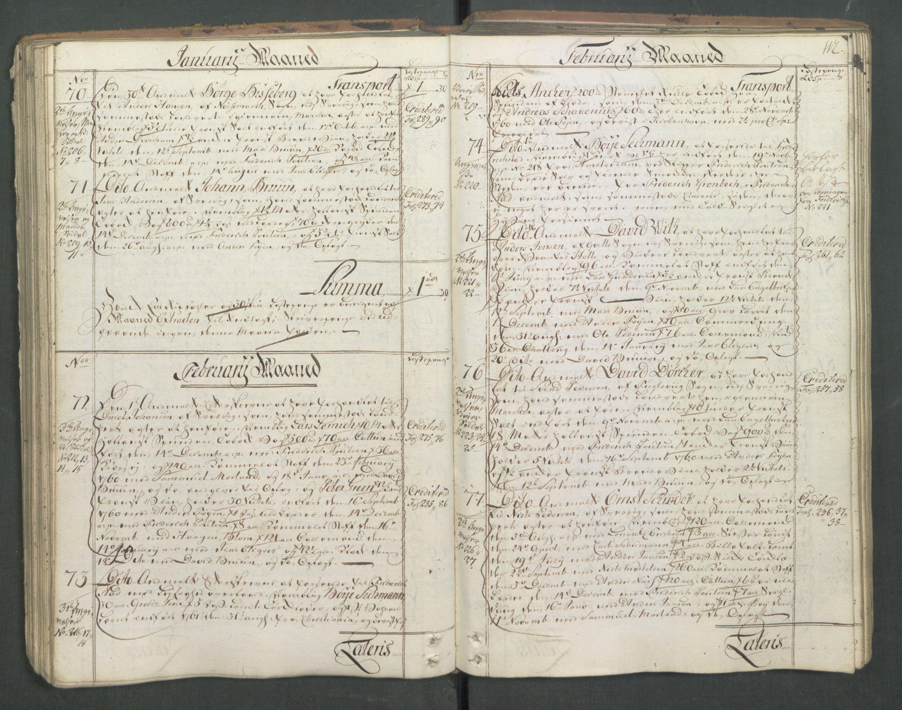 RA, Generaltollkammeret, tollregnskaper, R01/L0046: Tollregnskaper Fredrikshald, 1762, s. 111b-112a