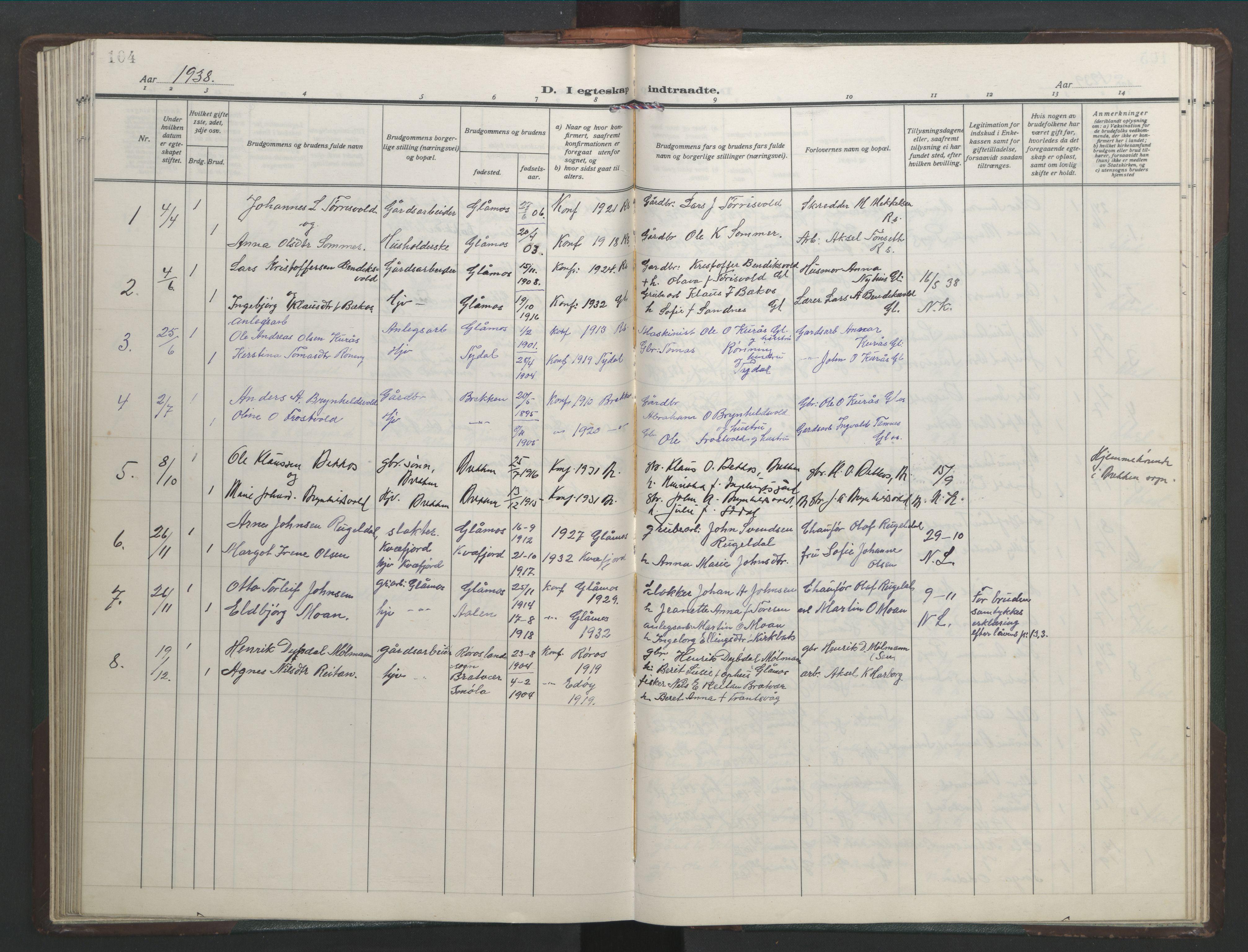 SAT, Ministerialprotokoller, klokkerbøker og fødselsregistre - Sør-Trøndelag, 682/L0947: Klokkerbok nr. 682C01, 1926-1968, s. 104