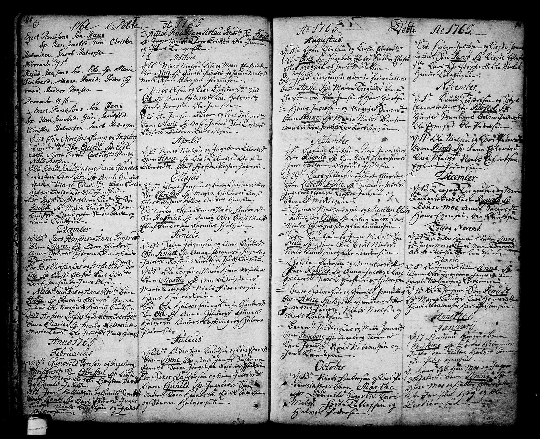 SAKO, Sannidal kirkebøker, F/Fa/L0001: Ministerialbok nr. 1, 1702-1766, s. 90-91