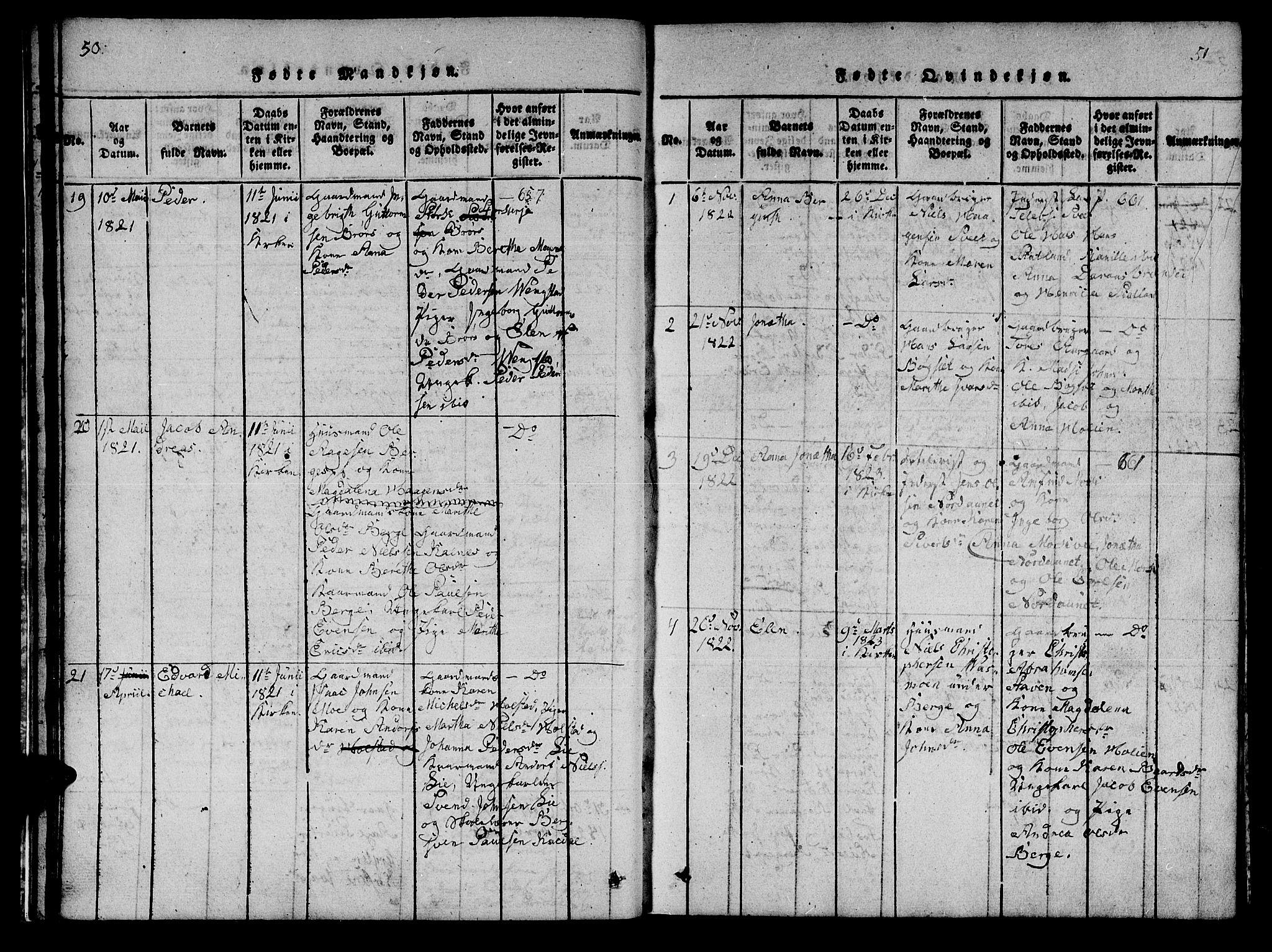 SAT, Ministerialprotokoller, klokkerbøker og fødselsregistre - Nord-Trøndelag, 742/L0411: Klokkerbok nr. 742C02, 1817-1825, s. 50-51