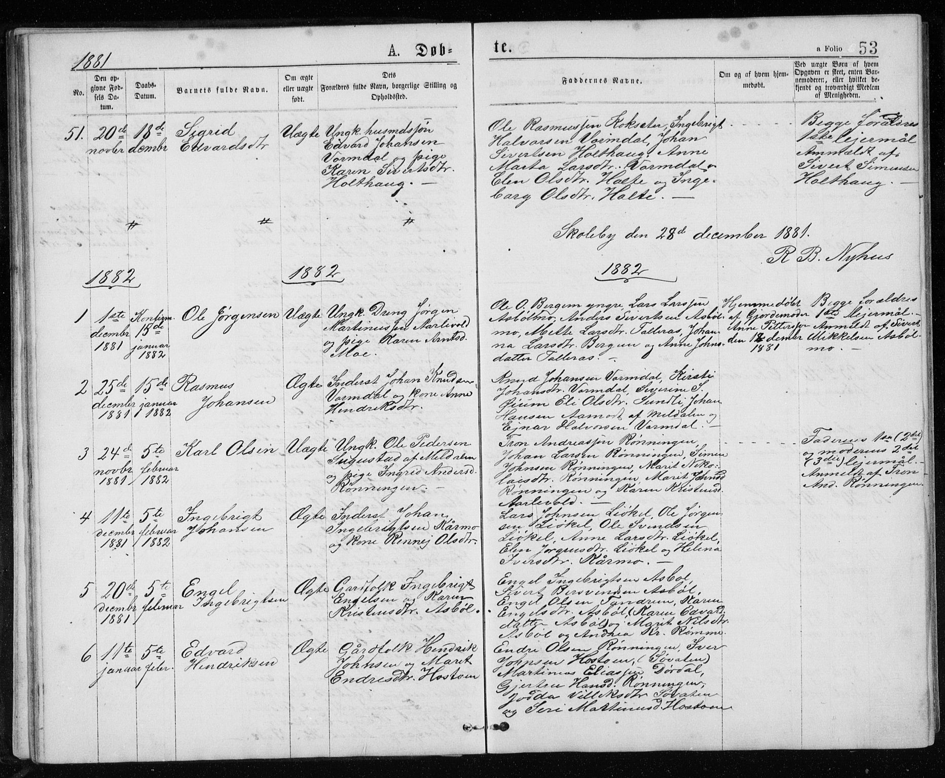 SAT, Ministerialprotokoller, klokkerbøker og fødselsregistre - Sør-Trøndelag, 671/L0843: Klokkerbok nr. 671C02, 1873-1892, s. 53