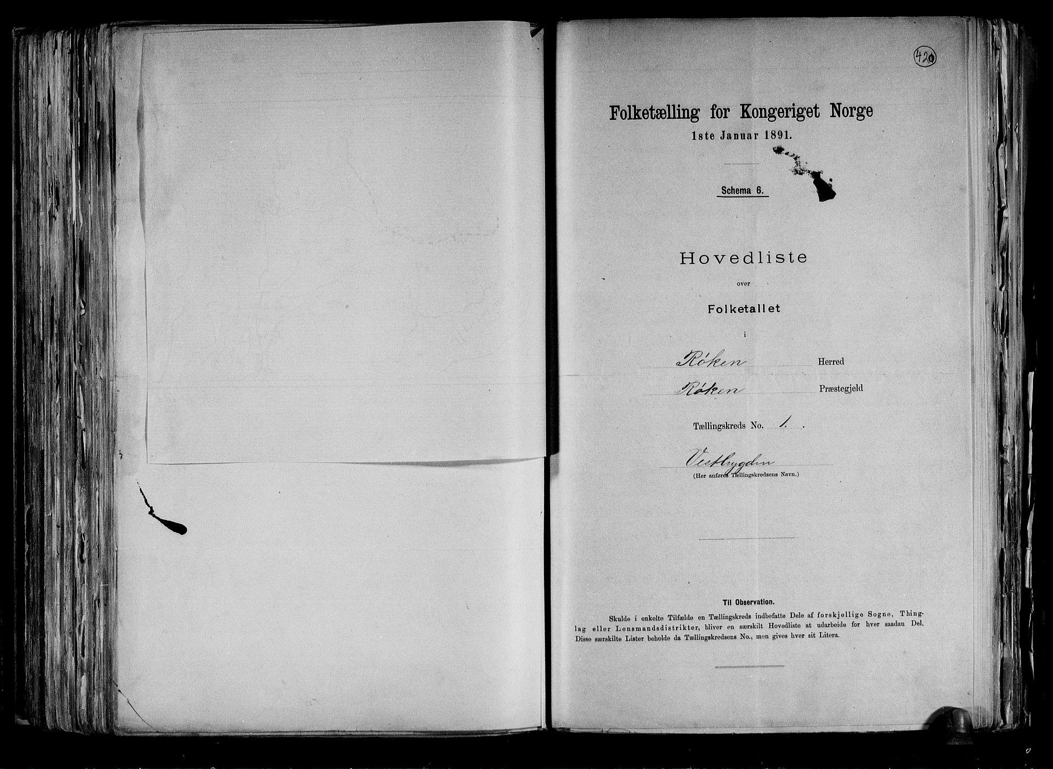 RA, Folketelling 1891 for 0627 Røyken herred, 1891, s. 5