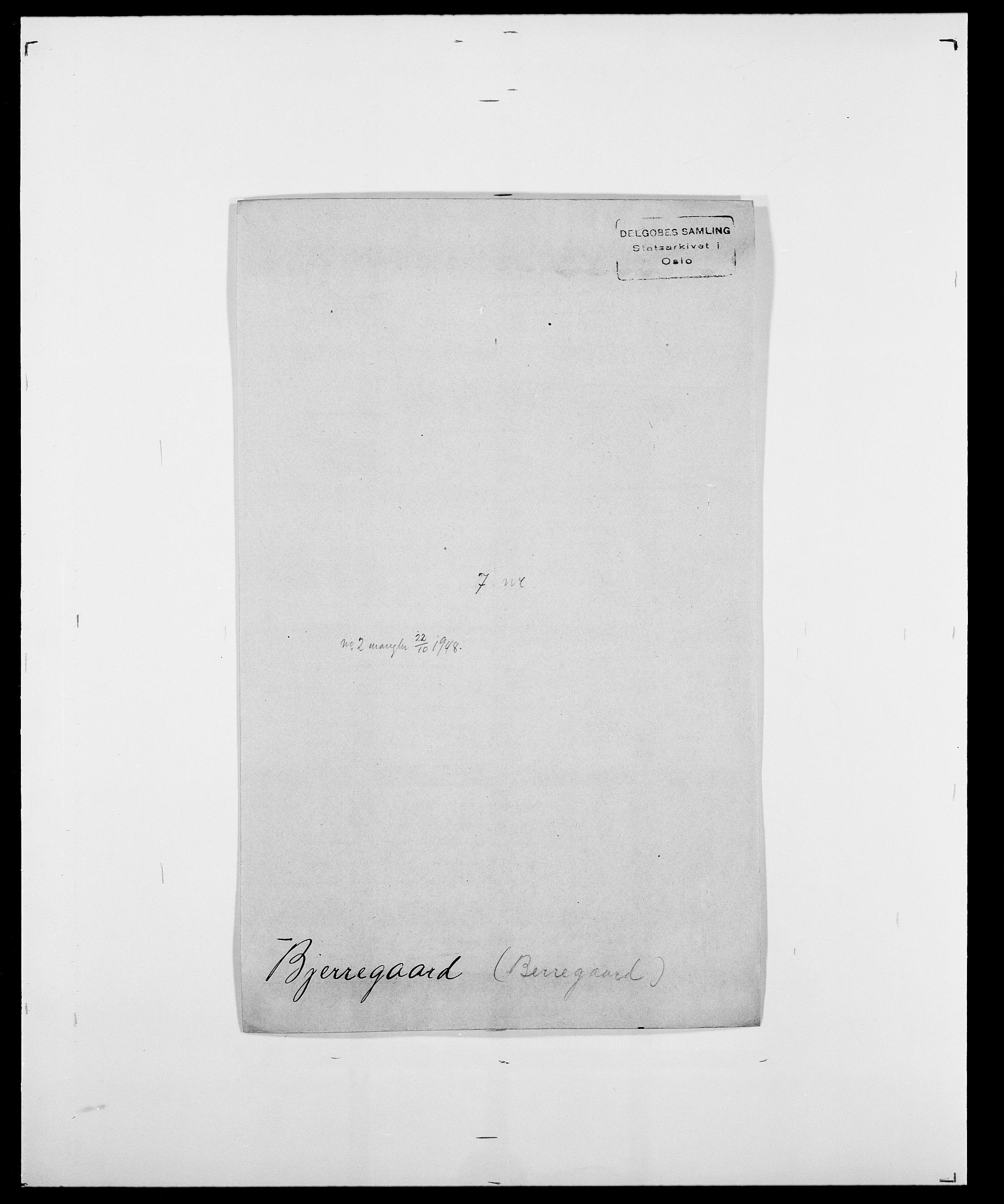 SAO, Delgobe, Charles Antoine - samling, D/Da/L0004: Bergendahl - Blære, s. 433