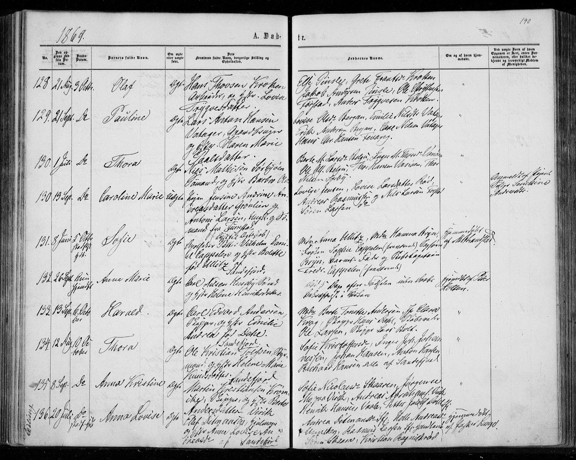SAKO, Sandar kirkebøker, F/Fa/L0008: Ministerialbok nr. 8, 1862-1871, s. 190