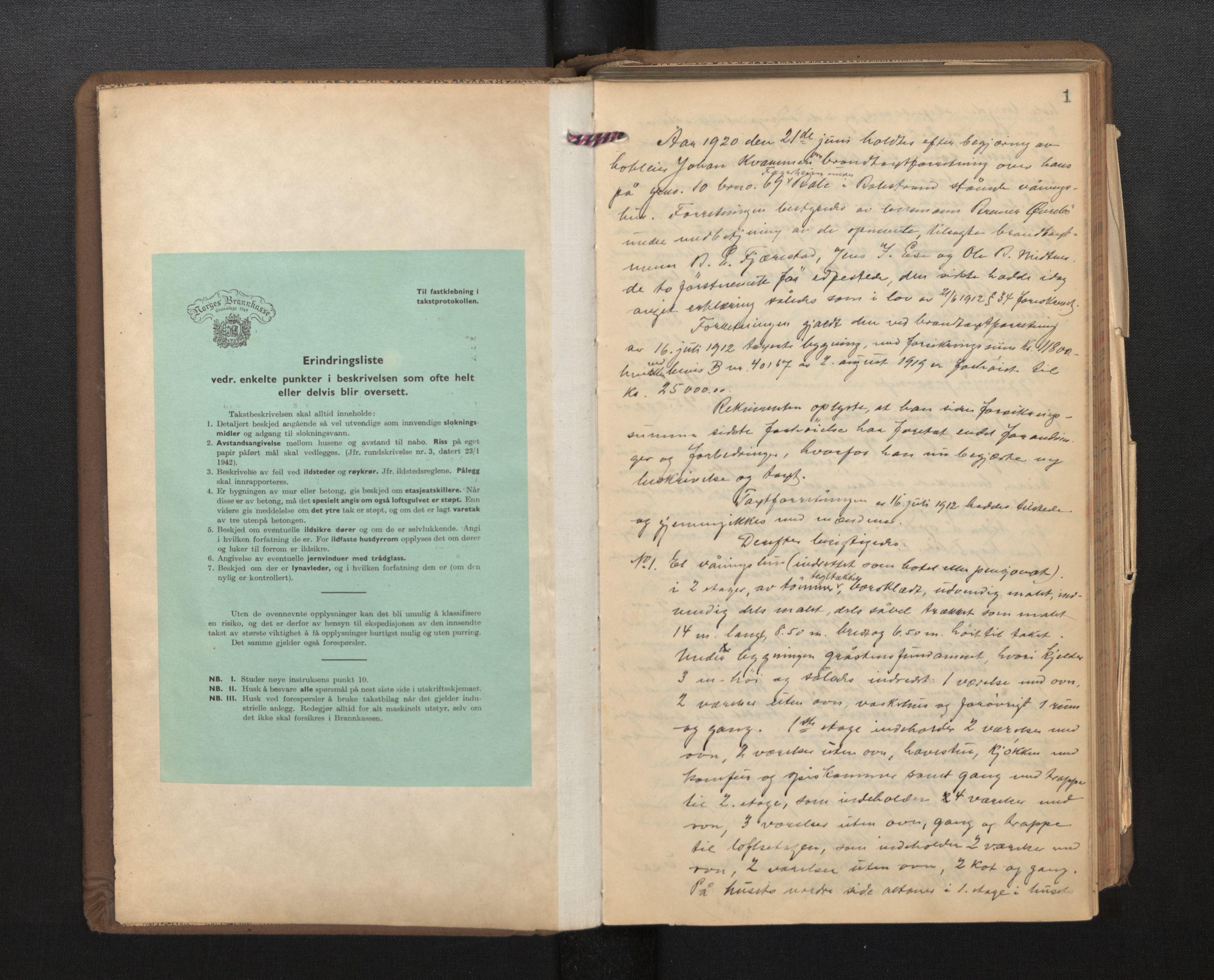 SAB, Lensmannen i Balestrand, 0012/L0002: Branntakstprotokoll, 1920-1955, s. 1